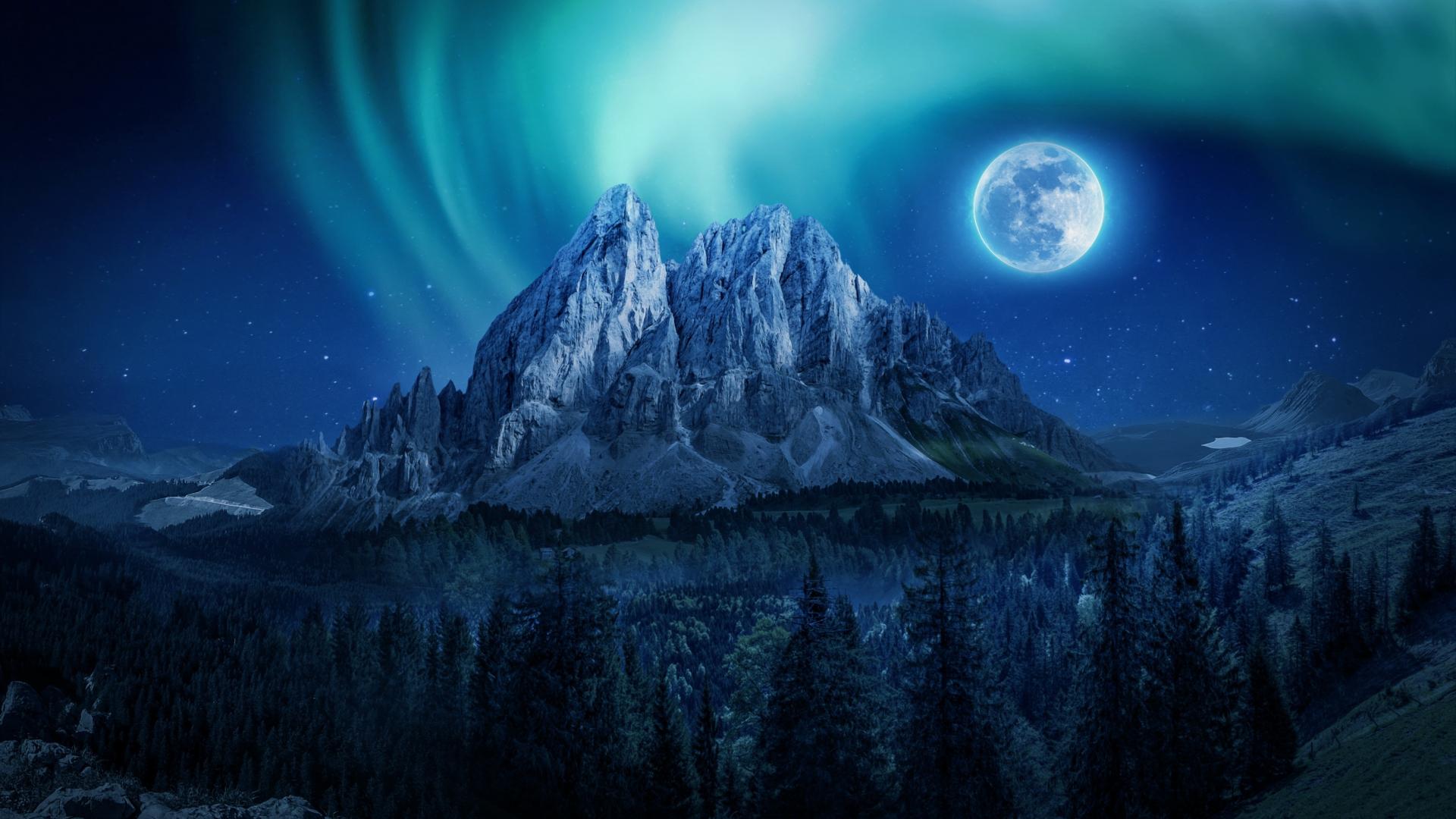 Download 1920x1080 Wallpaper Mountain Aurora Moon Night Full