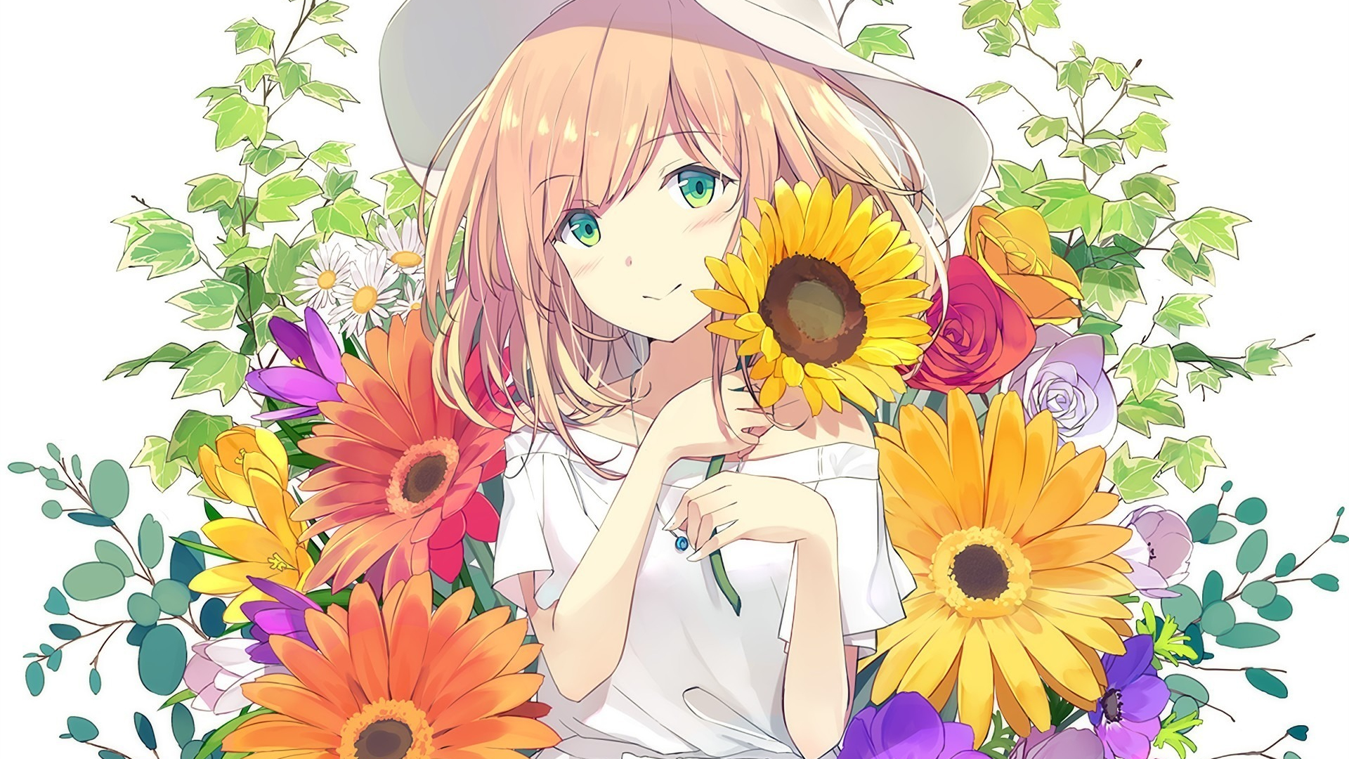 download 1920x1080 wallpaper cute anime girl flowers full hd