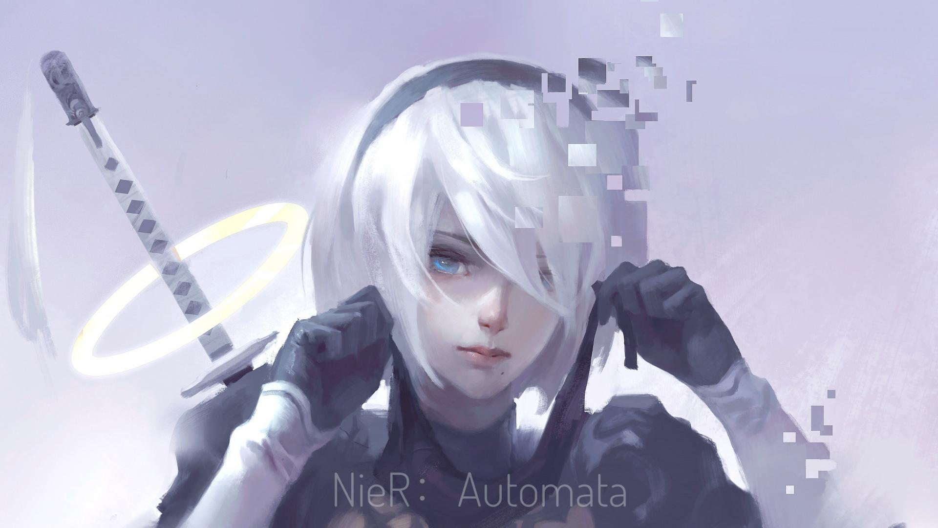 Download 1920x1080 Wallpaper Nier Automata White Hair B2