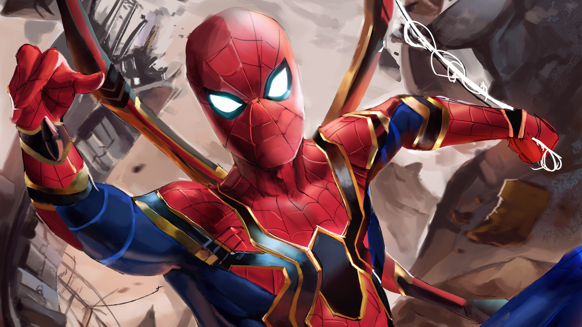 Download 1920x1080 Wallpaper Iron Suit Spider Man Avengers
