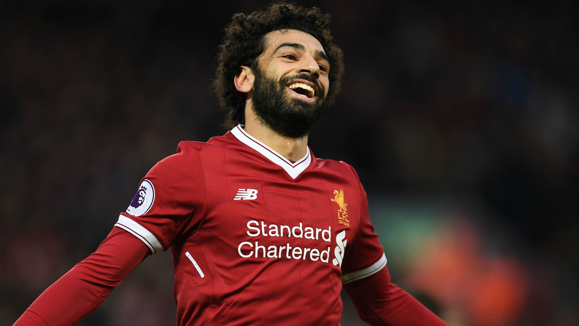 Download 1920x1080 Wallpaper Mohamed Salah, Red Jersey