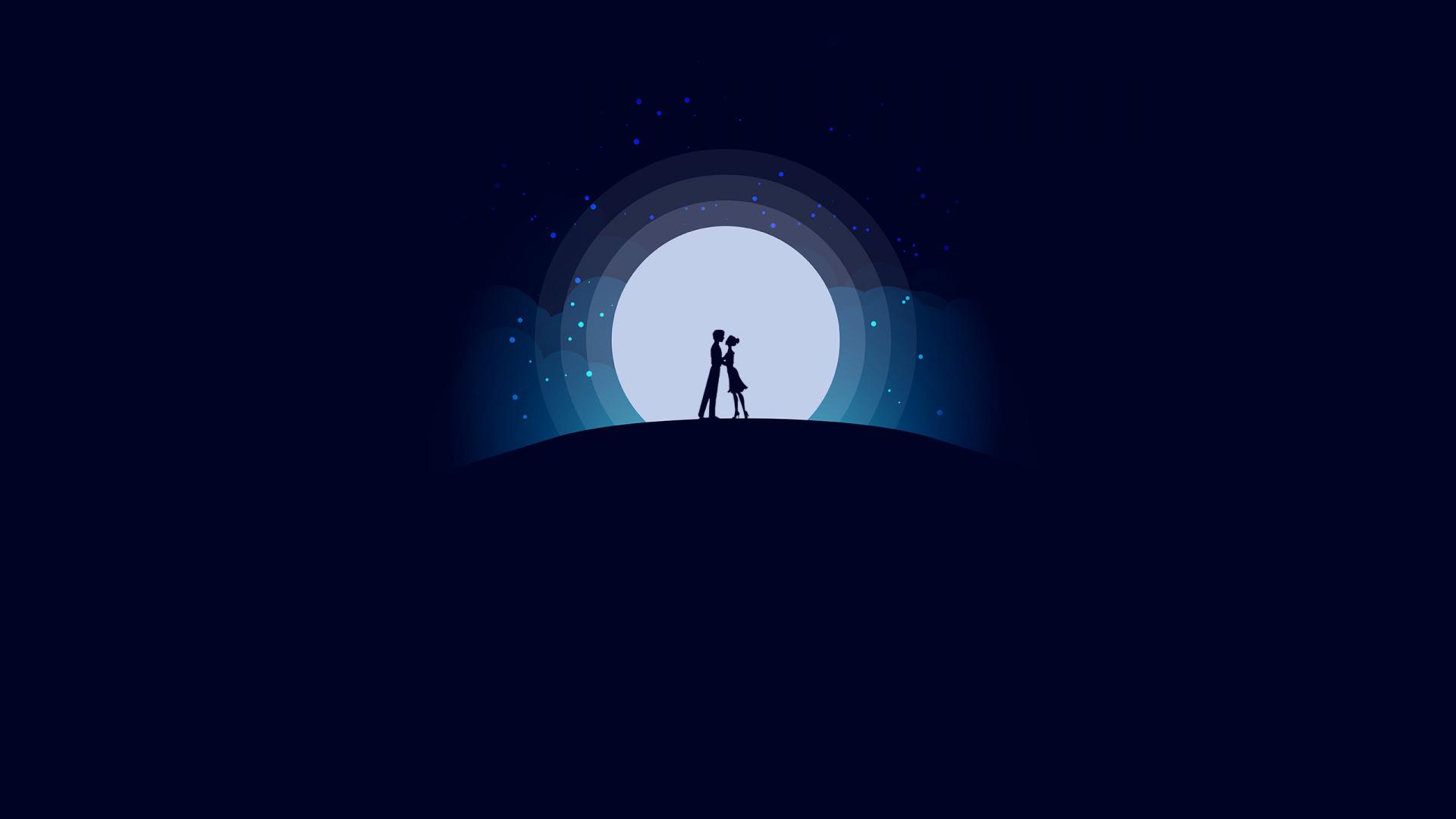 Download 1920x1080 Wallpaper Couple Love Moon Night Romantic