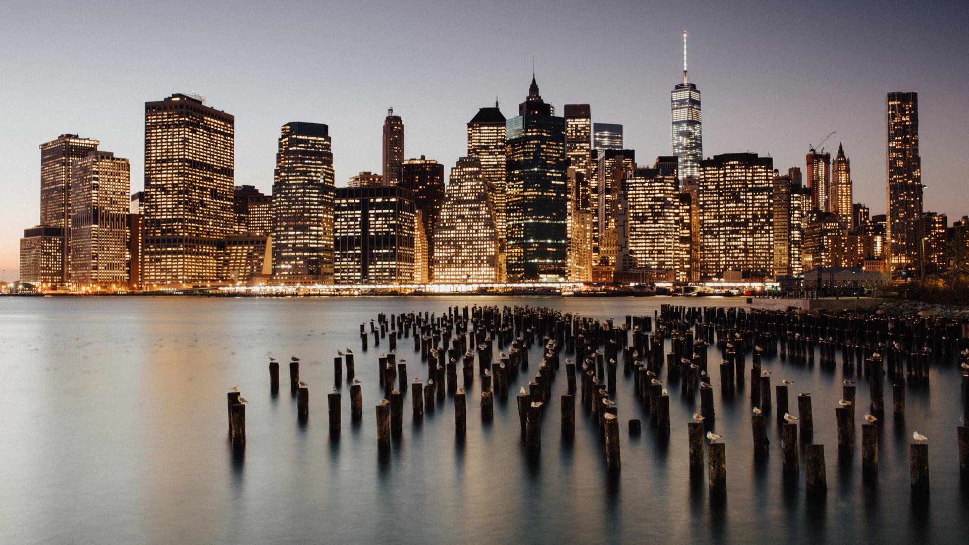 Download 1920x1080 Wallpaper New York City Brooklyn Night Full Hd Hdtv Fhd 1080p 1920x1080 Hd Image Background 10123