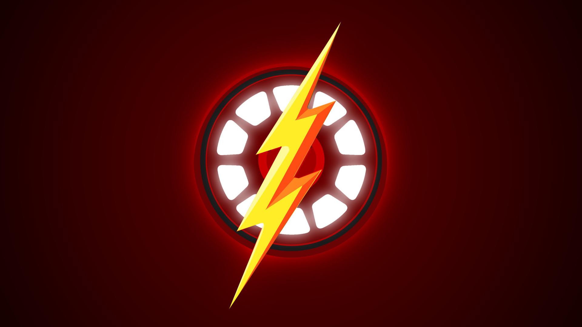 Download 1920x1080 Wallpaper Logo Minimal Iron Man The Flash