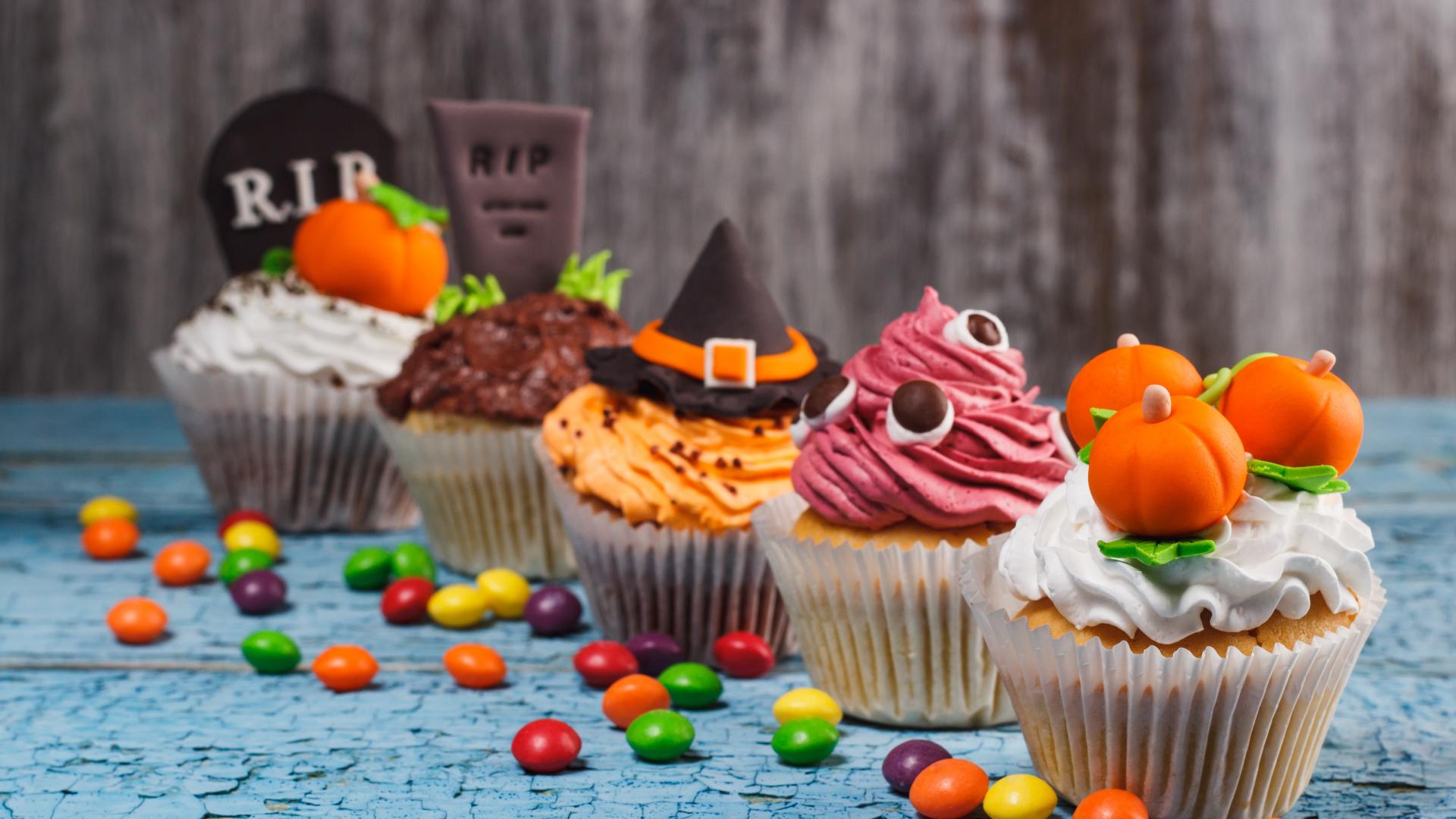 download 1920x1080 wallpaper halloween, cake, cupcakes, dessert