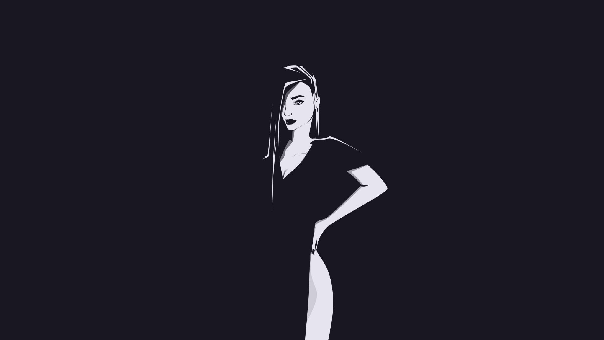 Minimal, urban woman, art, 2048x1152 wallpaper