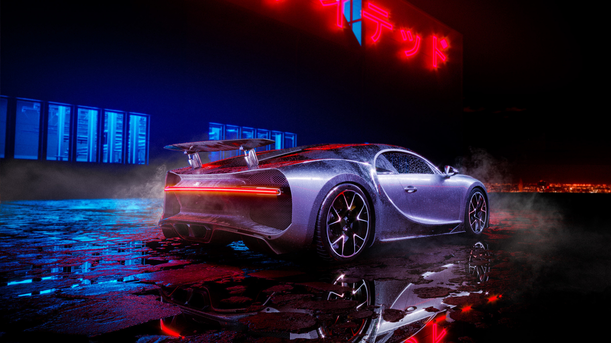Download 2048x1152 Wallpaper Bugatti Chiron Neon Lights