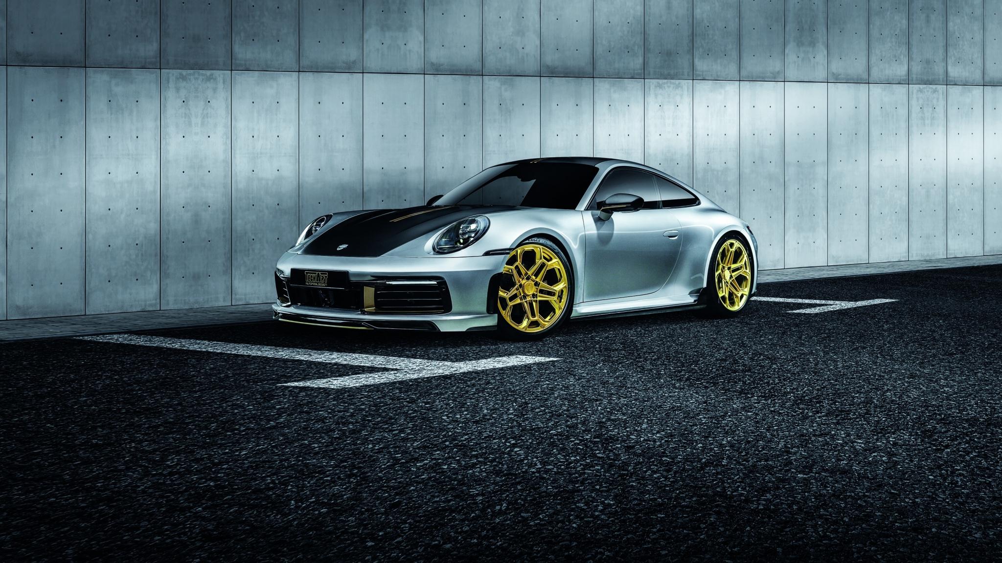 Download 2048x1152 Wallpaper Golden Wheels Porsche 911 Carrera Techart Dual Wide Widescreen 2048x1152 Hd Image Background 22879