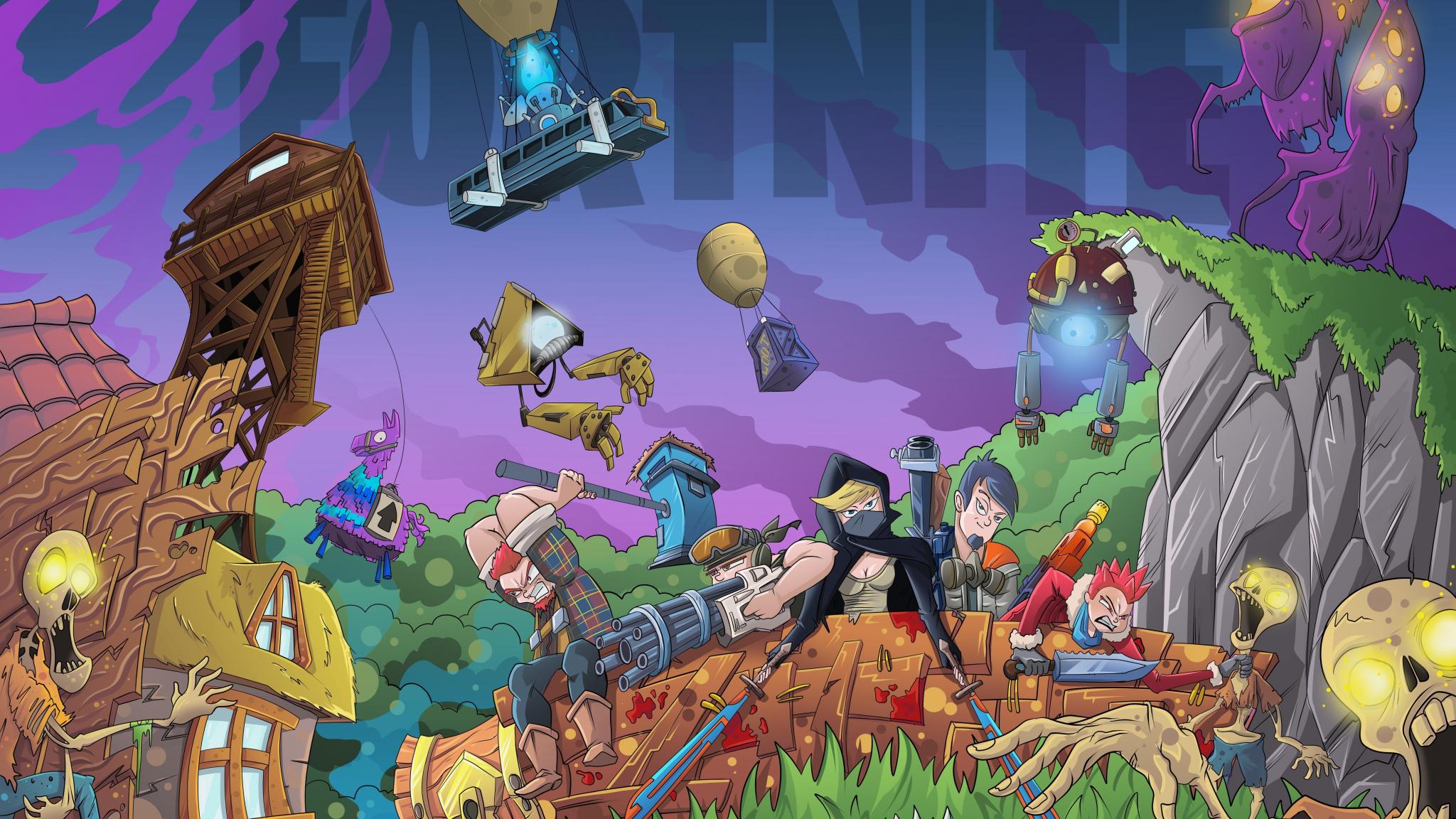 Download 2048x1152 Wallpaper Fortnite Video Game Landscape Dual