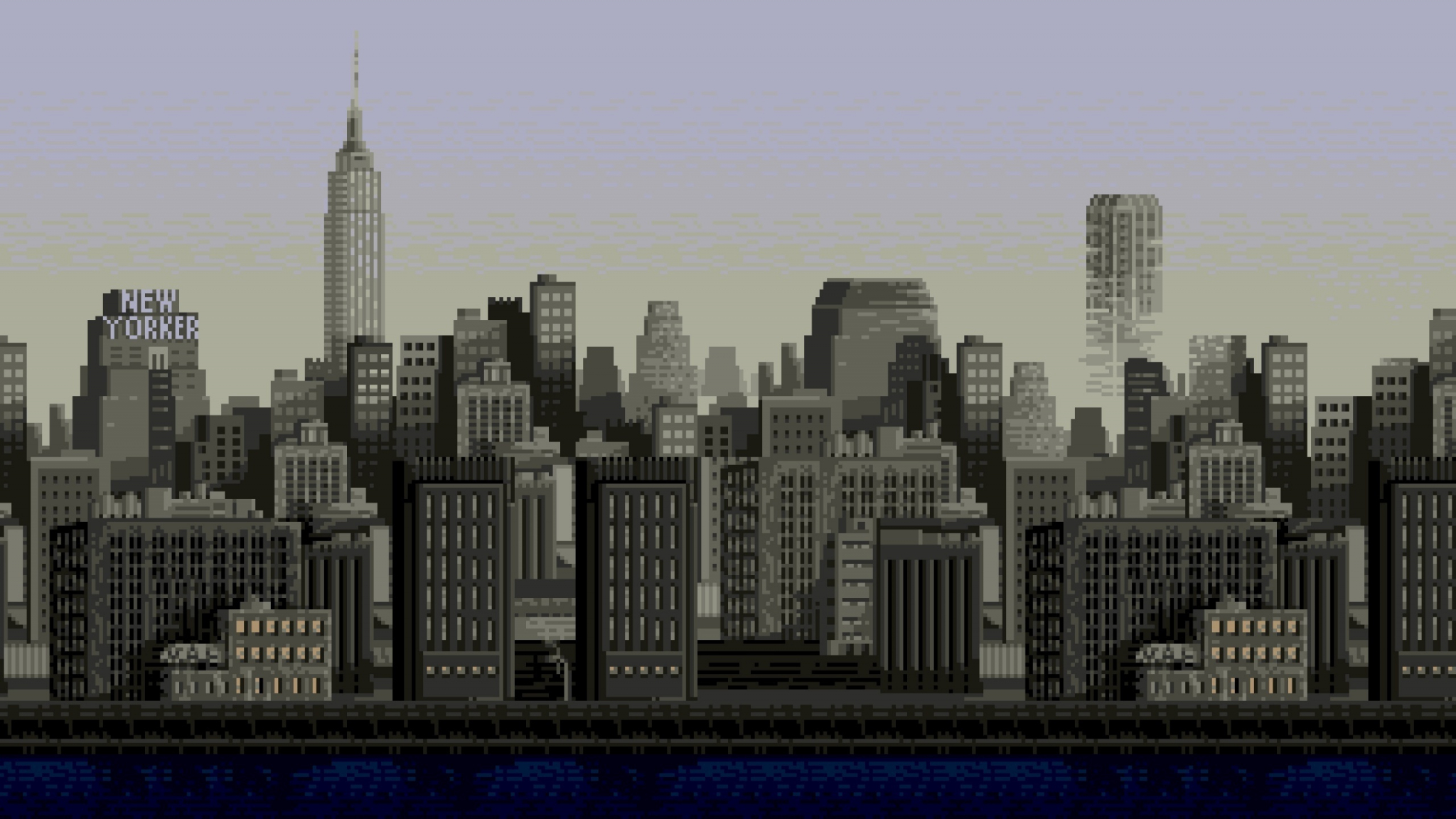 Download 2048x1152 Wallpaper Pixel Art Cityscape Buildings