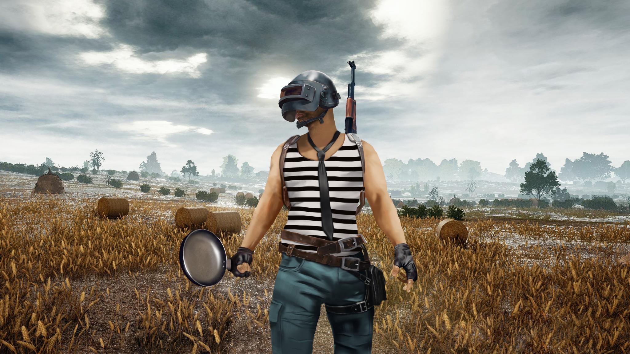Download 2048x1152 Wallpaper Pubg Helmet Guy The Pan