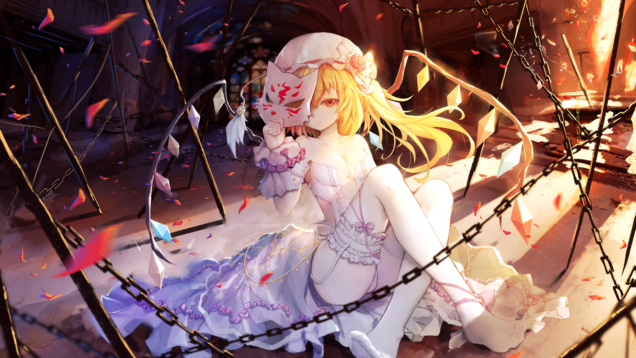 Download 2048x1152 Wallpaper Flandre Scarlet Touhou Anime