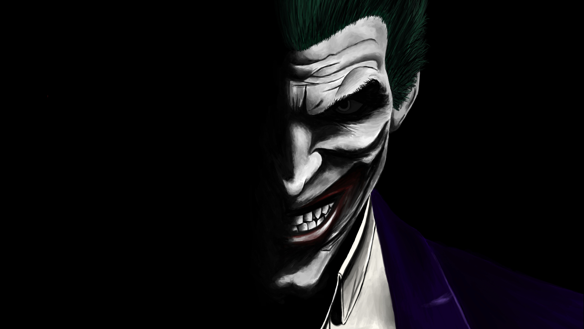 Download 2048x1152 wallpaper joker, dark, dc comics ...