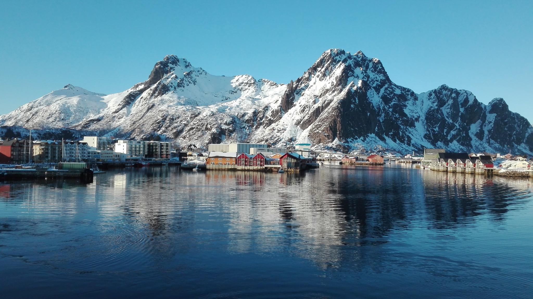 Download 2048x1152 Wallpaper Fjord Norway Lake Mountains