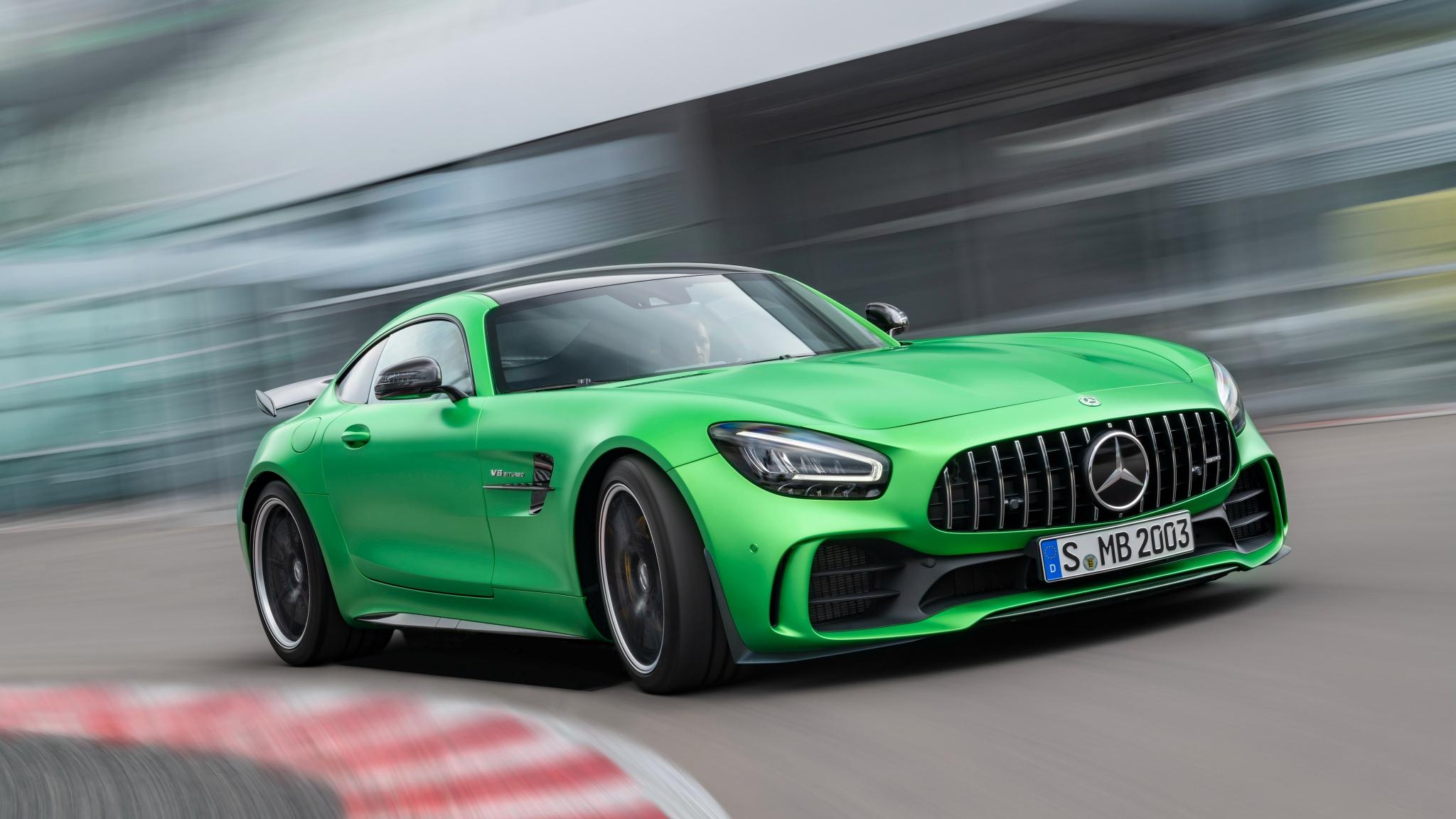 Mercedes-AMG GT, green car, on-road, 2048x1152 wallpaper