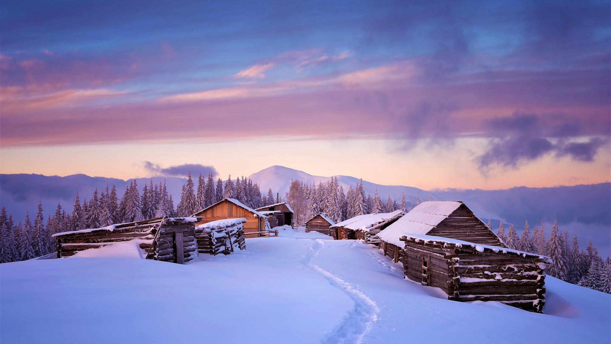 Download 2048x1152 wallpaper houses, winter, landscape ...