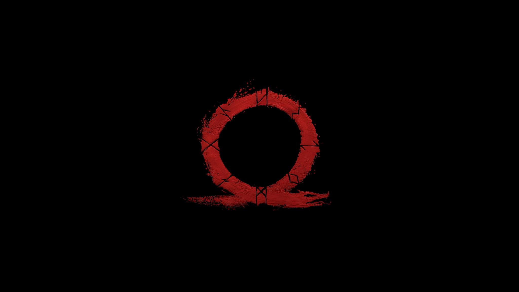 Download 2048x1152 wallpaper god of war, omega, logo ...
