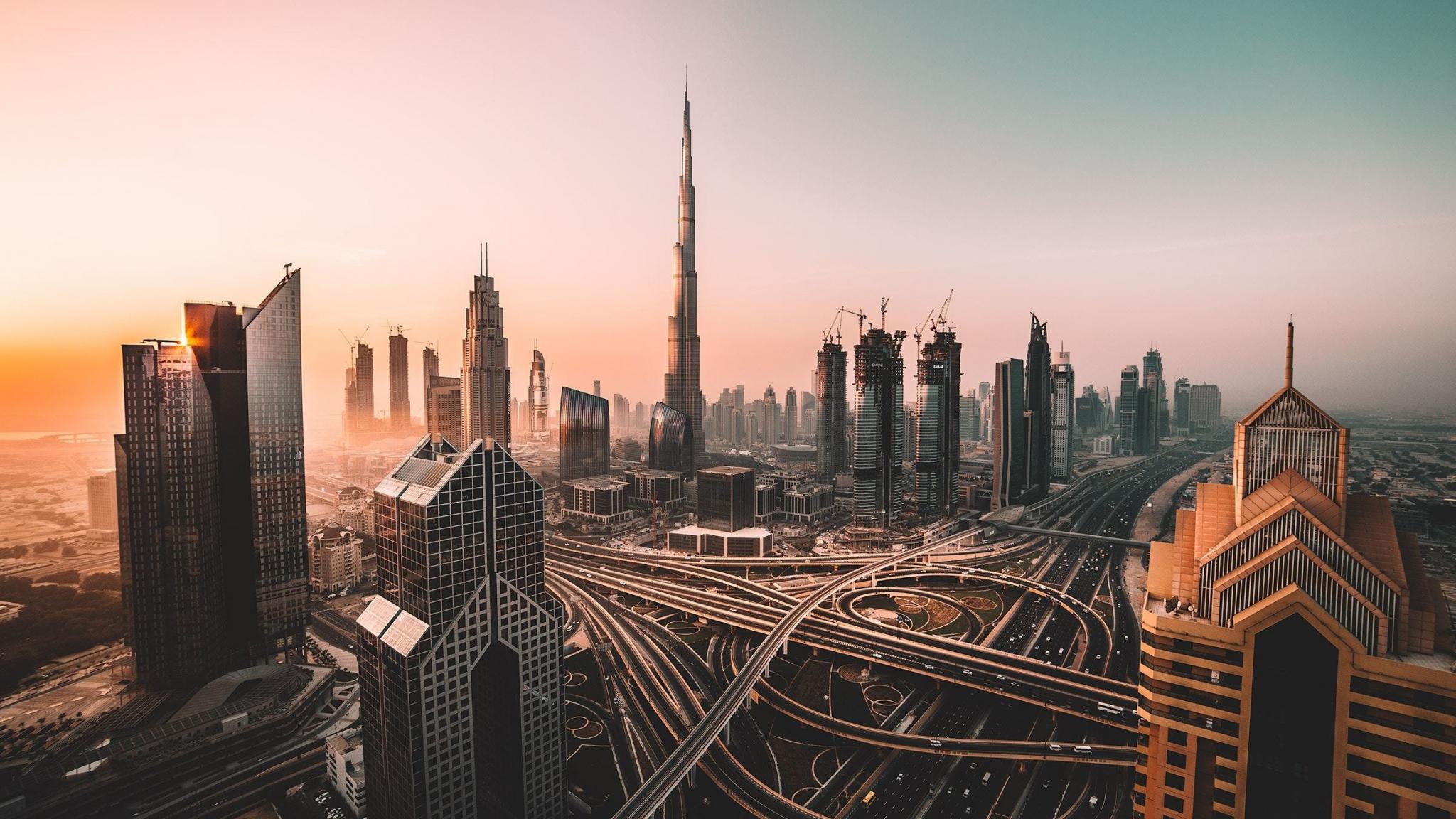 Dubai, skyline, cityscape, skyscrapers, buildings, Burj Khalifa, city, 2048x1152 wallpaper