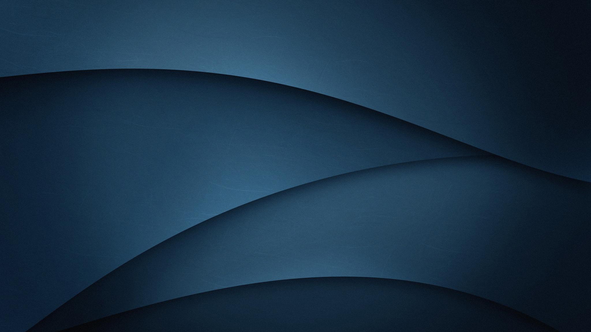 Dark Blue, Gradient, Abstract, Wave Flow, Minimalist, 2048X1152 Wallpaper
