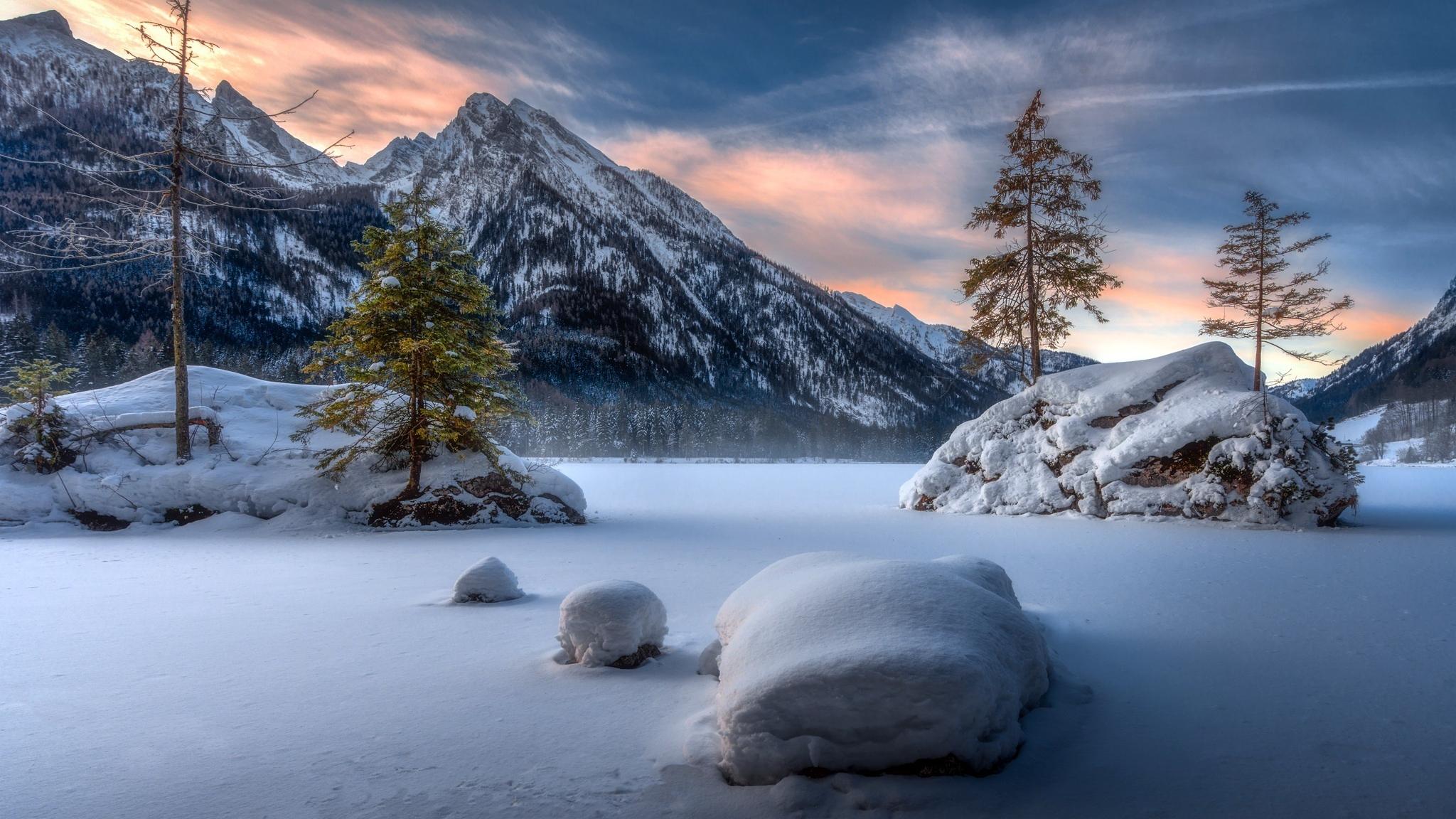 Landscape, mountains, winter, sunset, 2048x1152 wallpaper