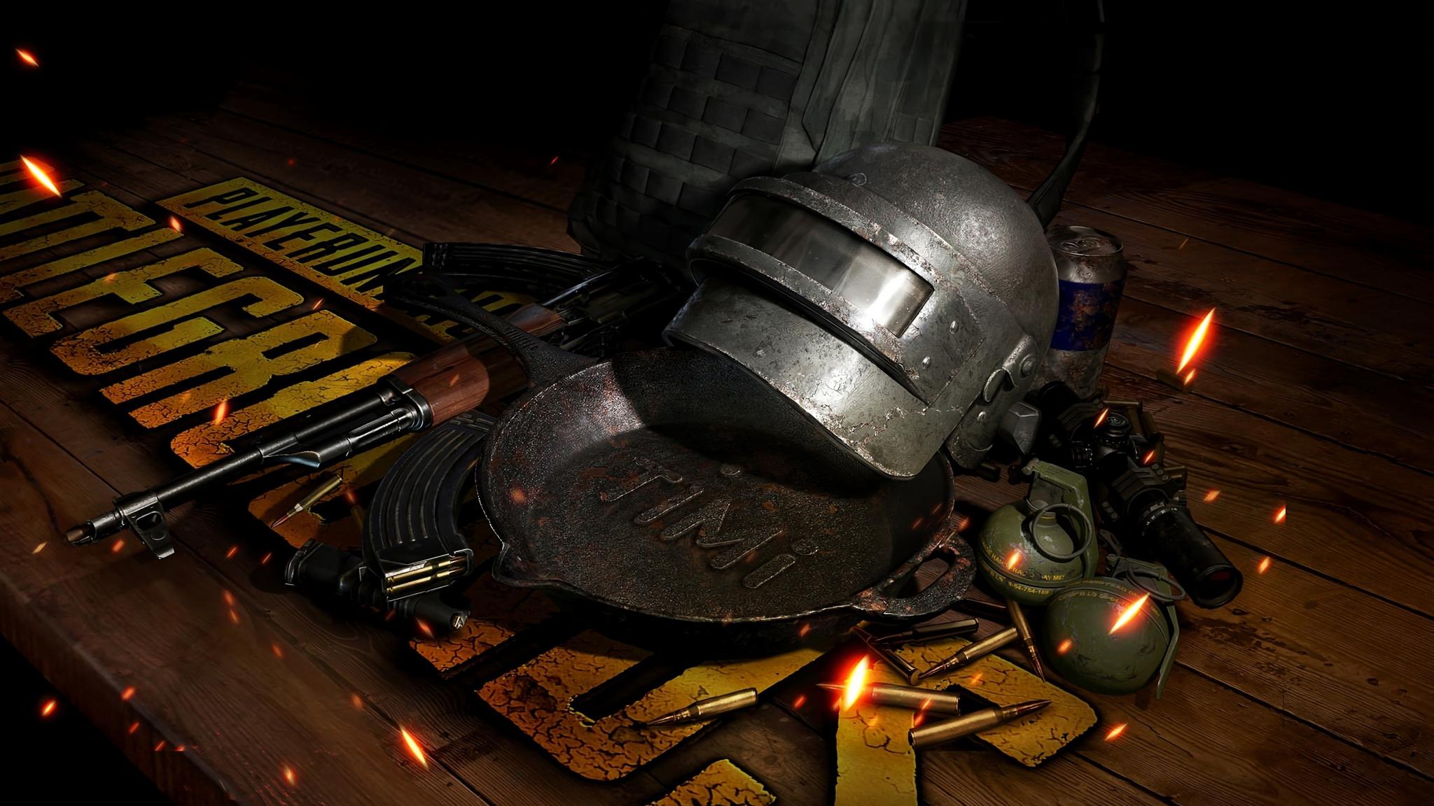 Download 2048x1152 Wallpaper Pubg Weapons Helmet Video