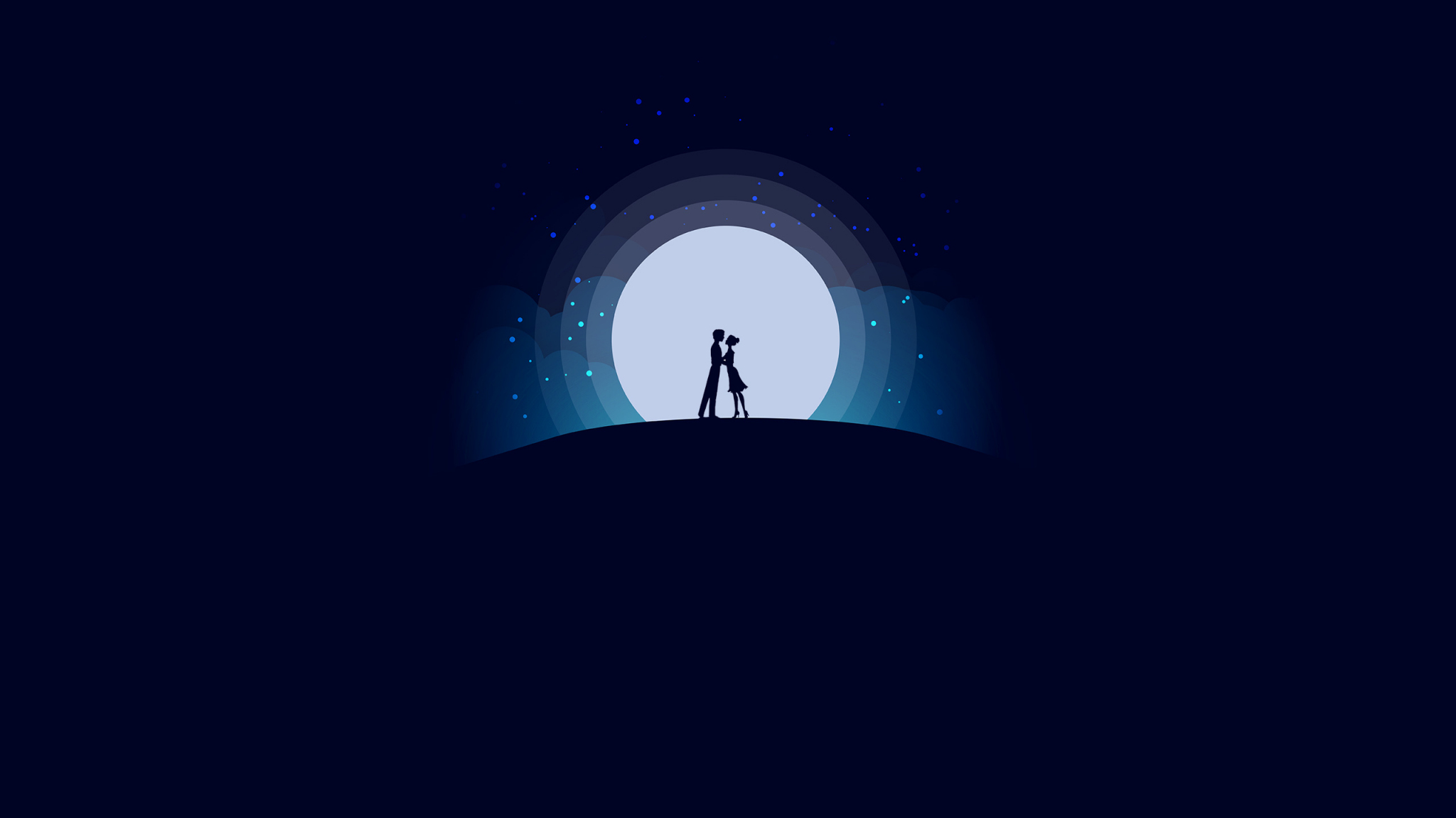 Love Couple With Moon Hd Wallpaper For Mobile: Download 2048x1152 Wallpaper Couple, Love, Moon, Night
