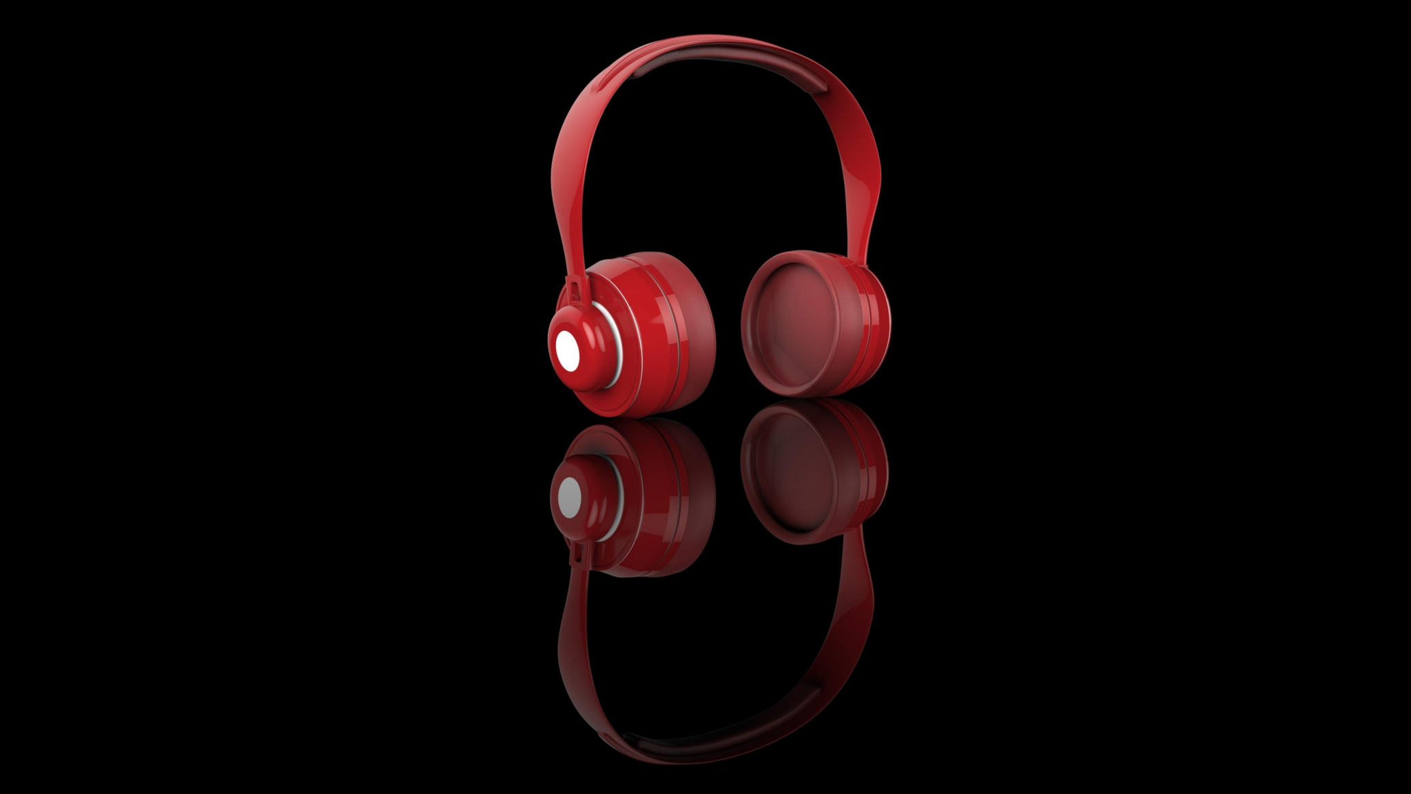 Download 2048x1152 Wallpaper Red Headphone Music