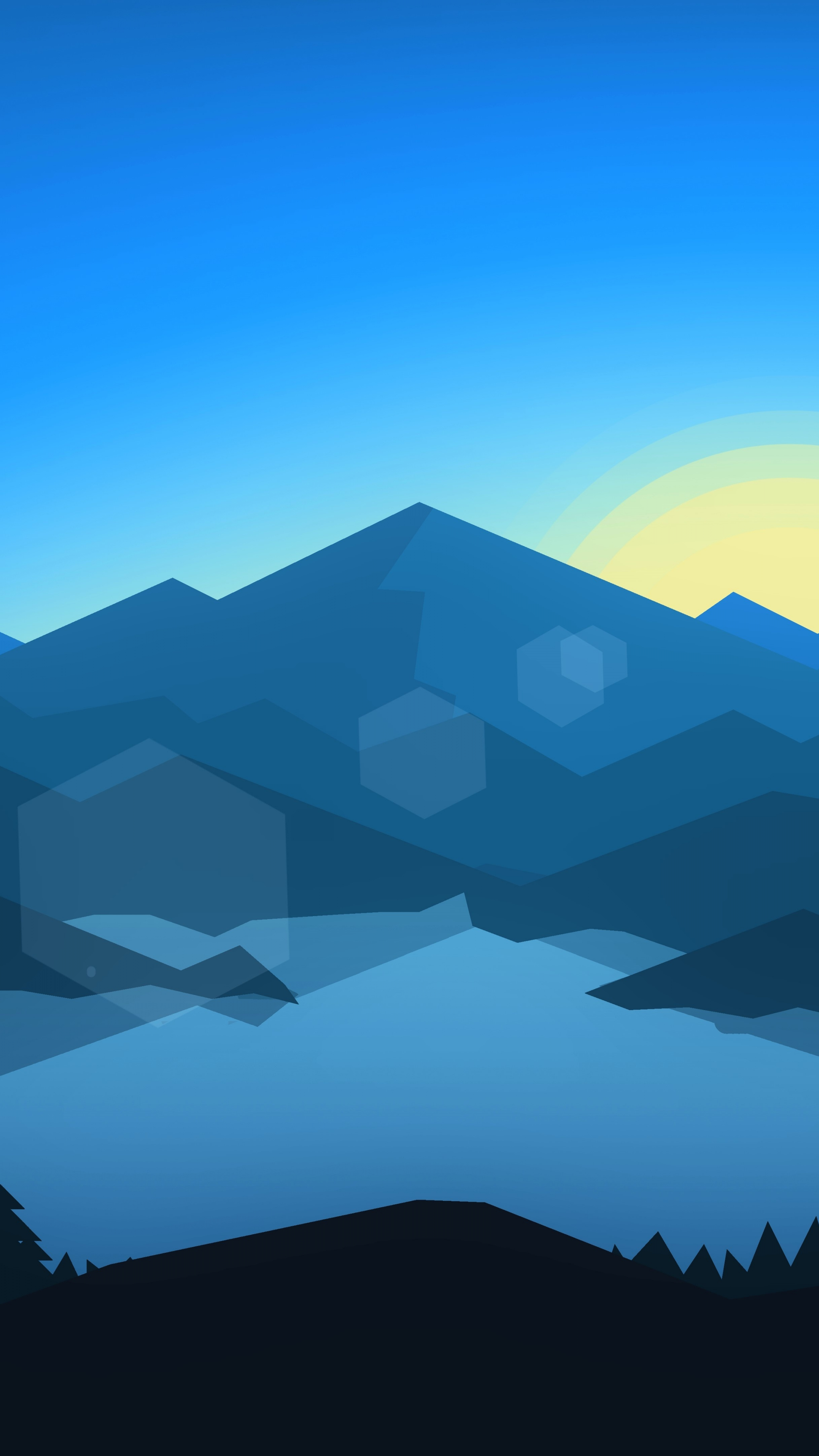Forest, mountains, sunset, cool weather, minimalism, 2160x3840 wallpaper