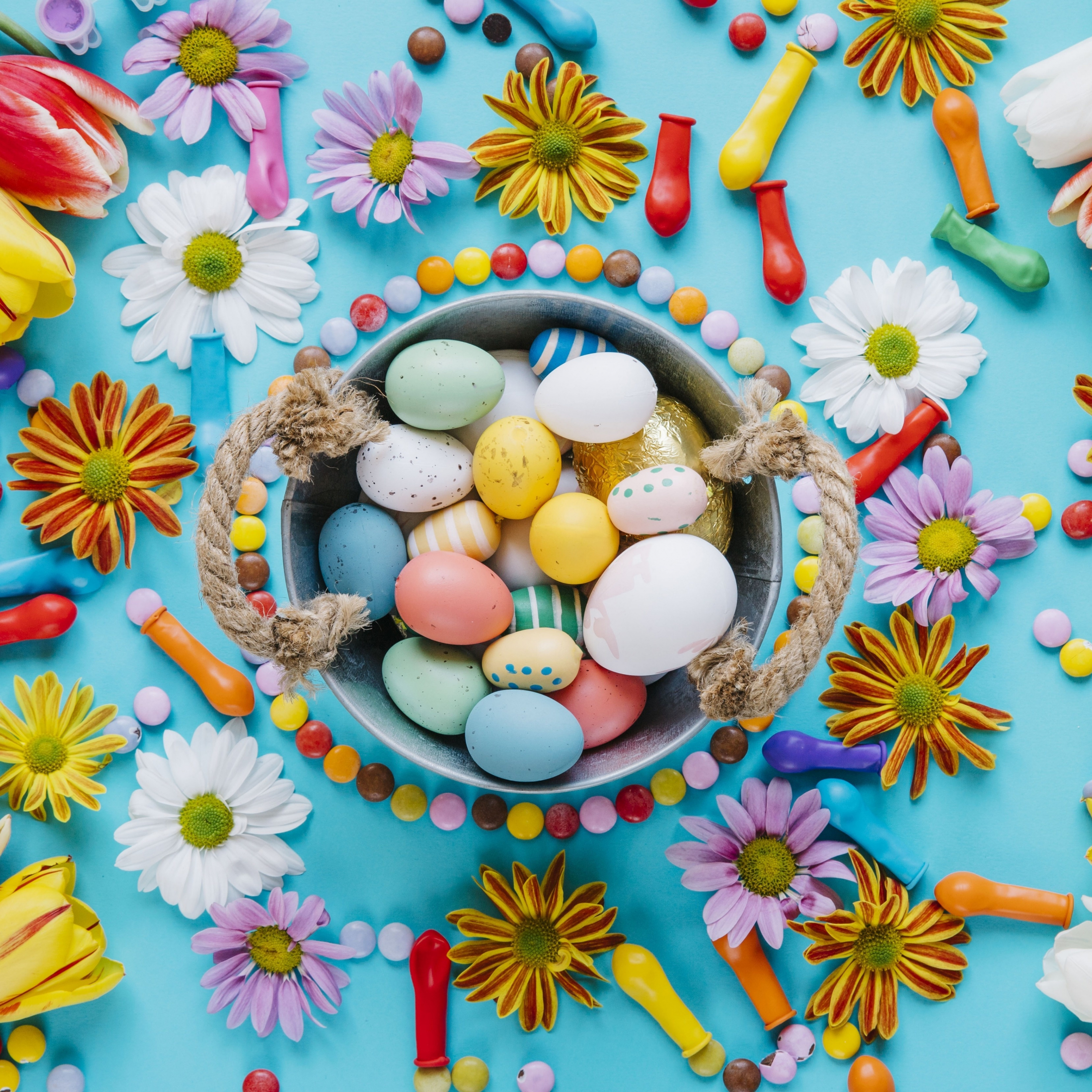 Download 2248x2248 Wallpaper Easter Colored Eggs Basket