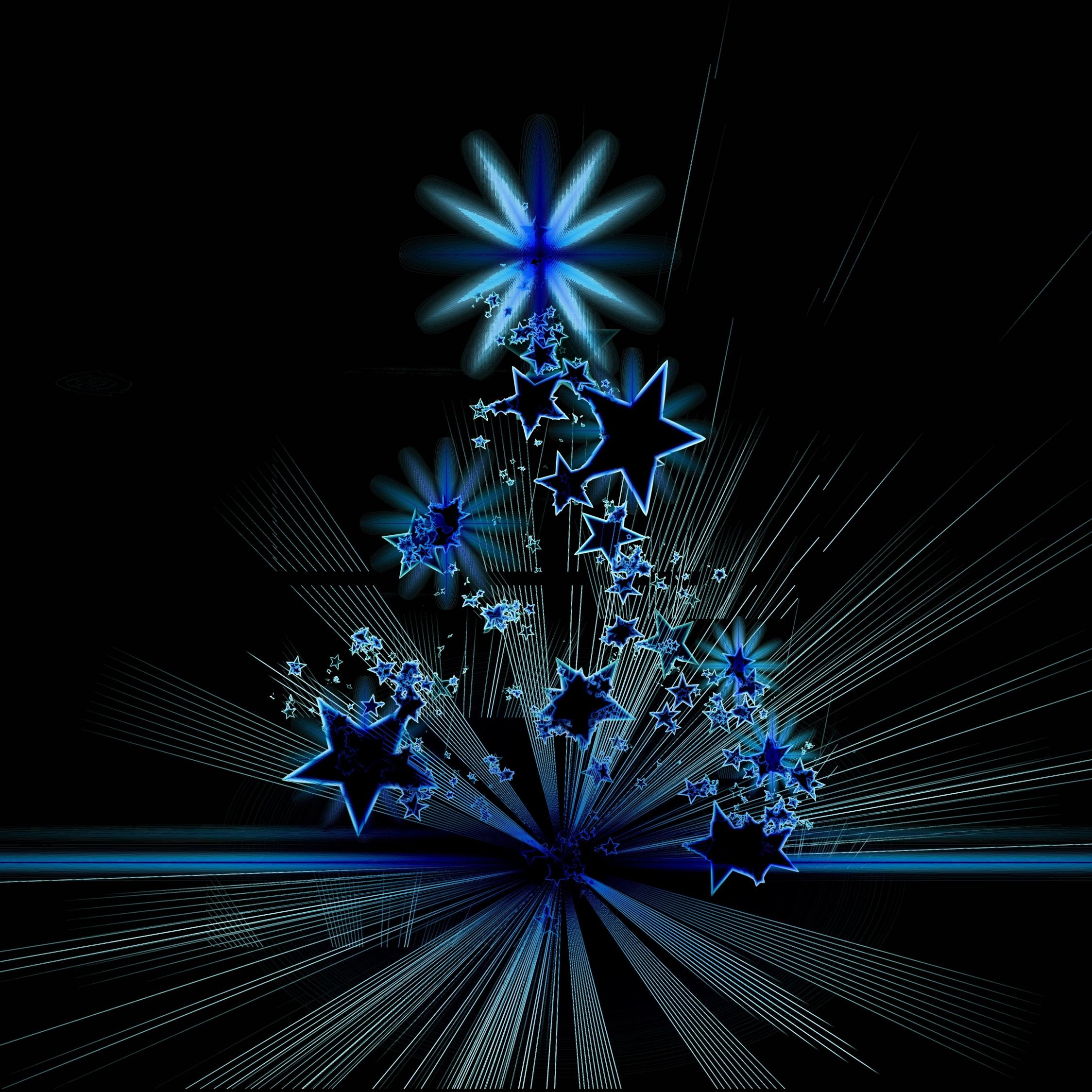 Christmas Tree Stars Abstract Digital Art 2248x2248 Wallpaper