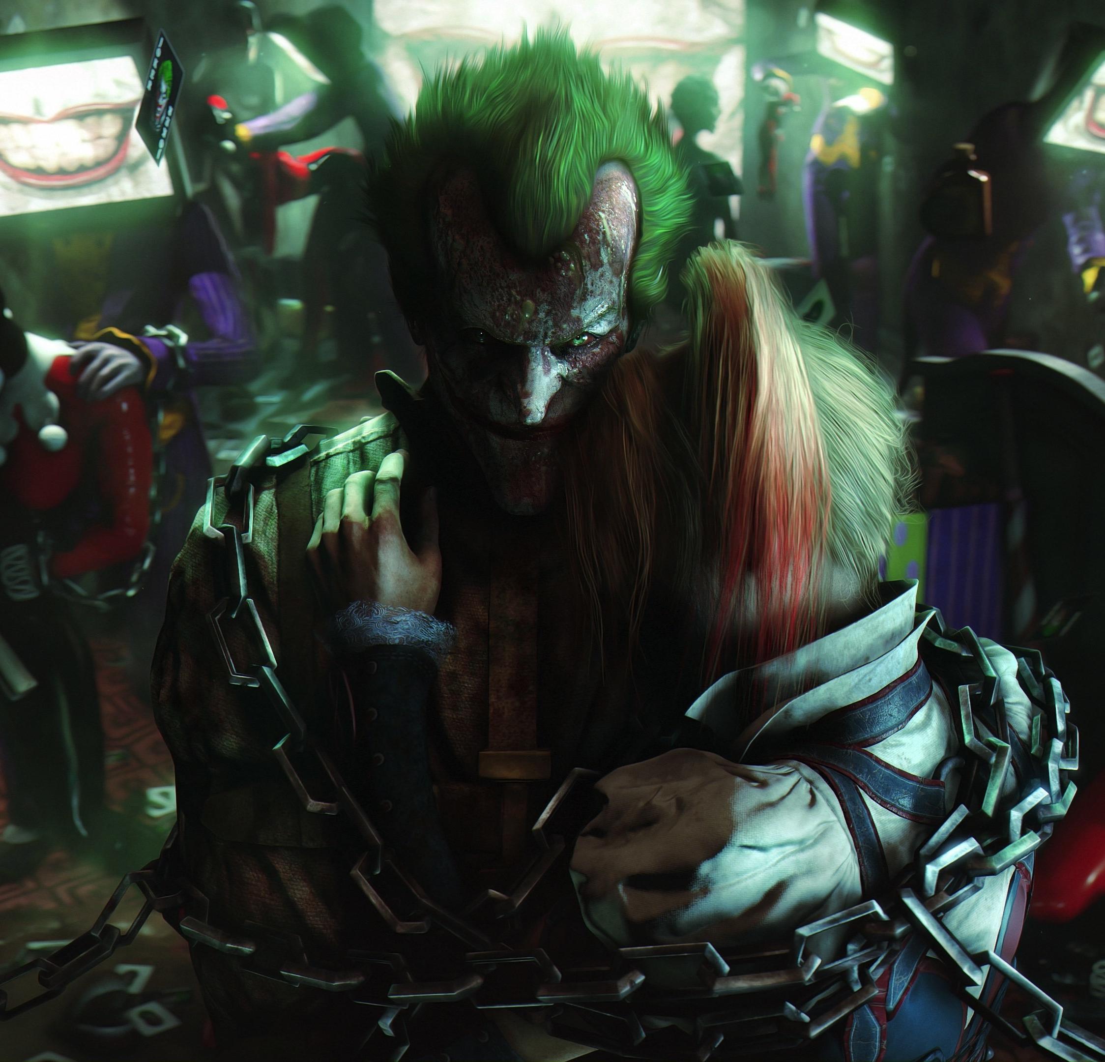 Download 2248x2248 wallpaper batman: arkham city, joker, villain