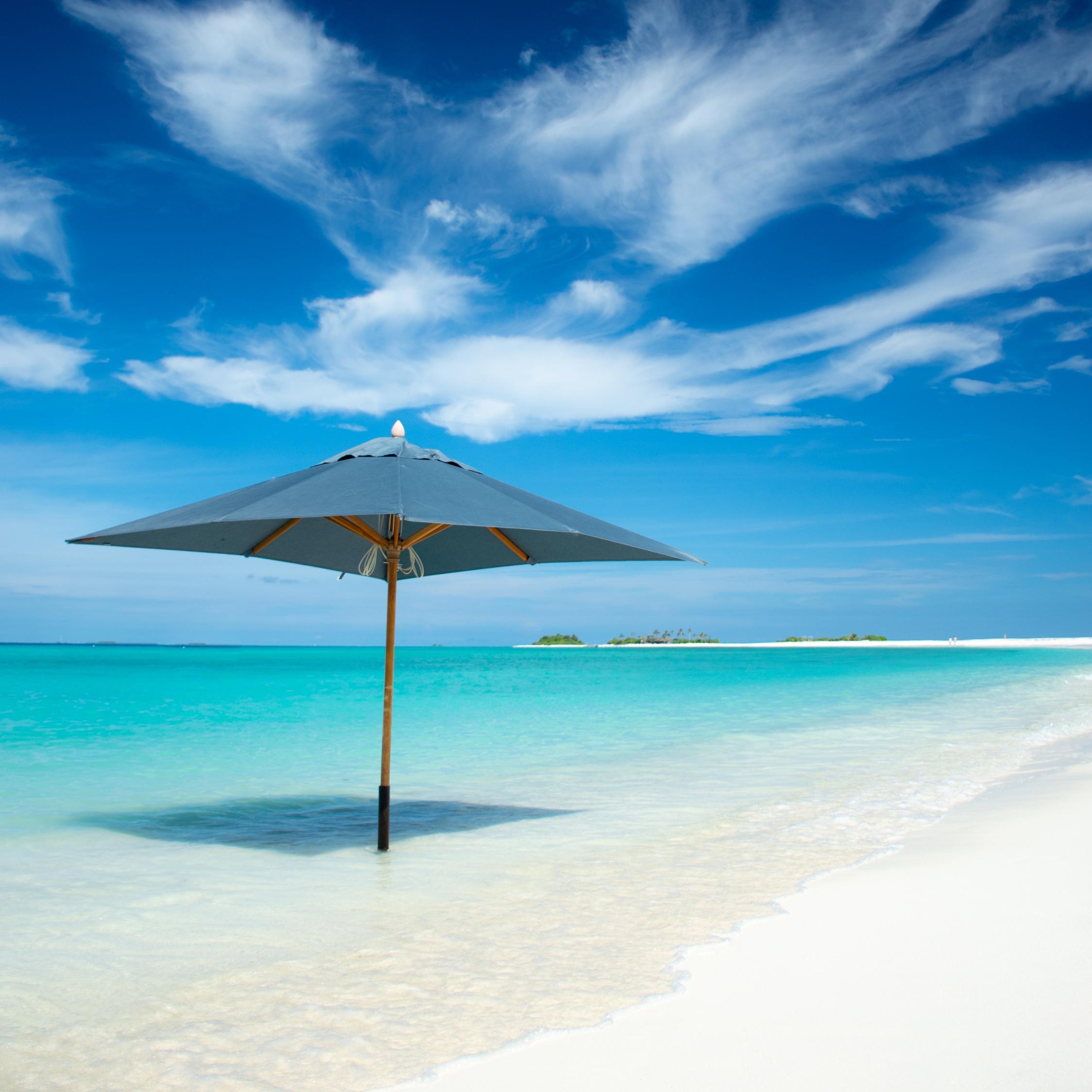 Download 2248x2248 Wallpaper Umbrella Beach Tropical