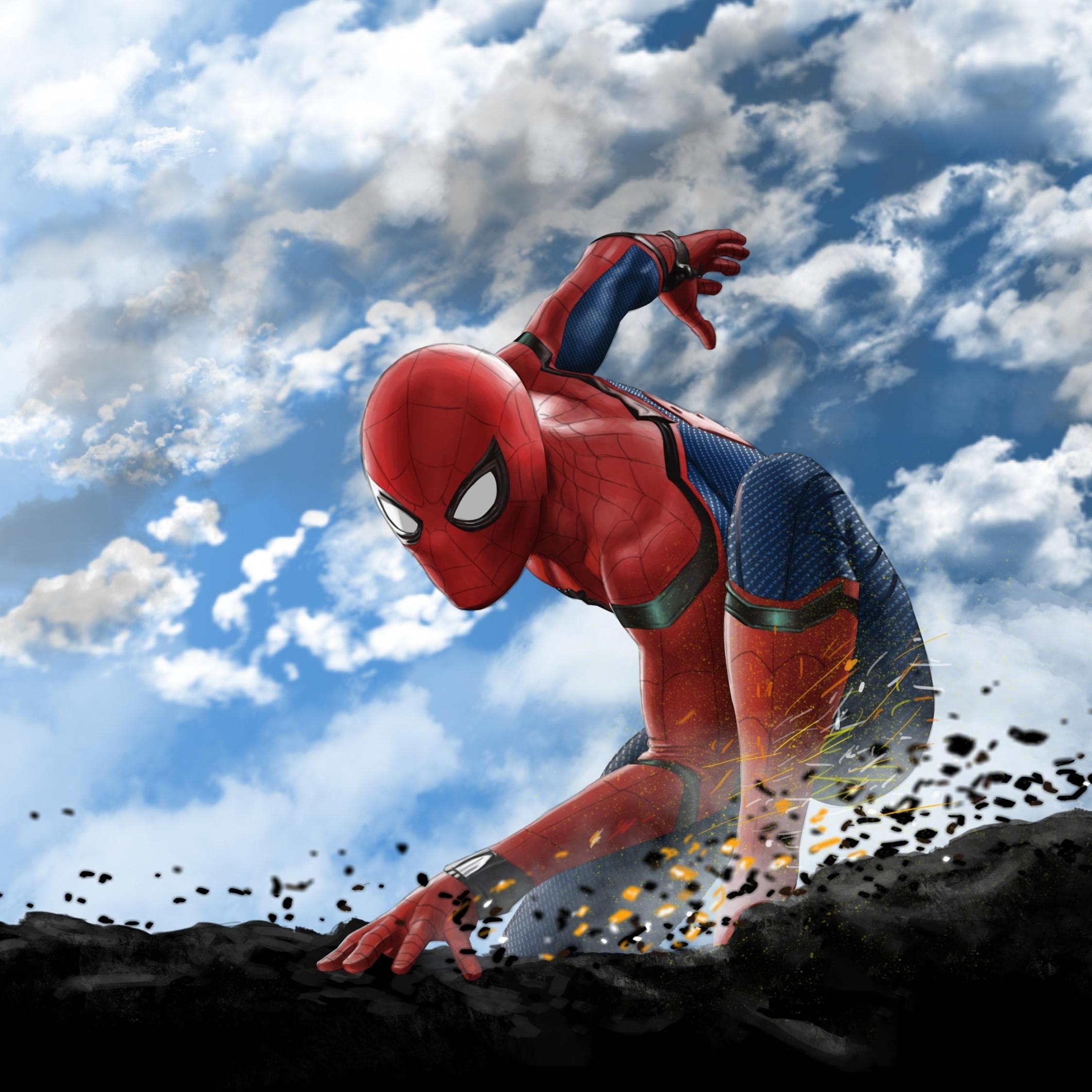 Download 2248x2248 Wallpaper Spider-man, Superhero, Art