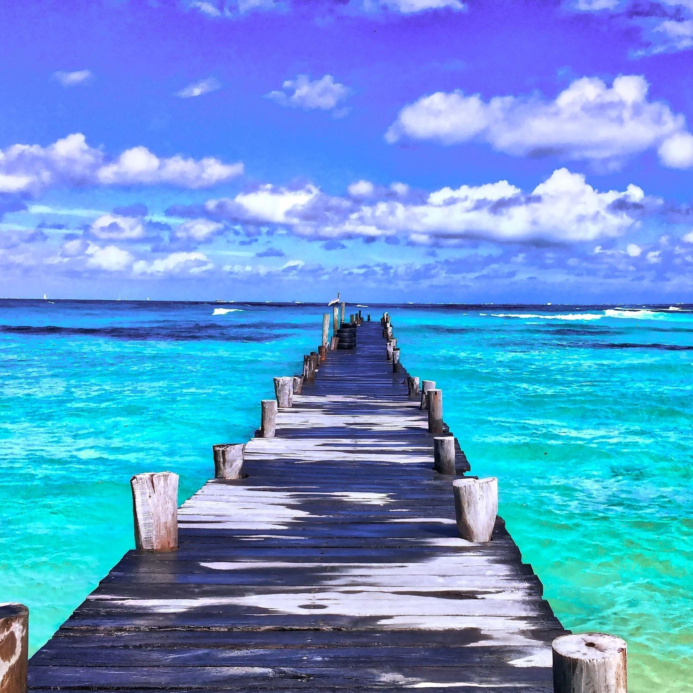 Download 2248x2248 Wallpaper Pier Sunny Day Beach Ipad