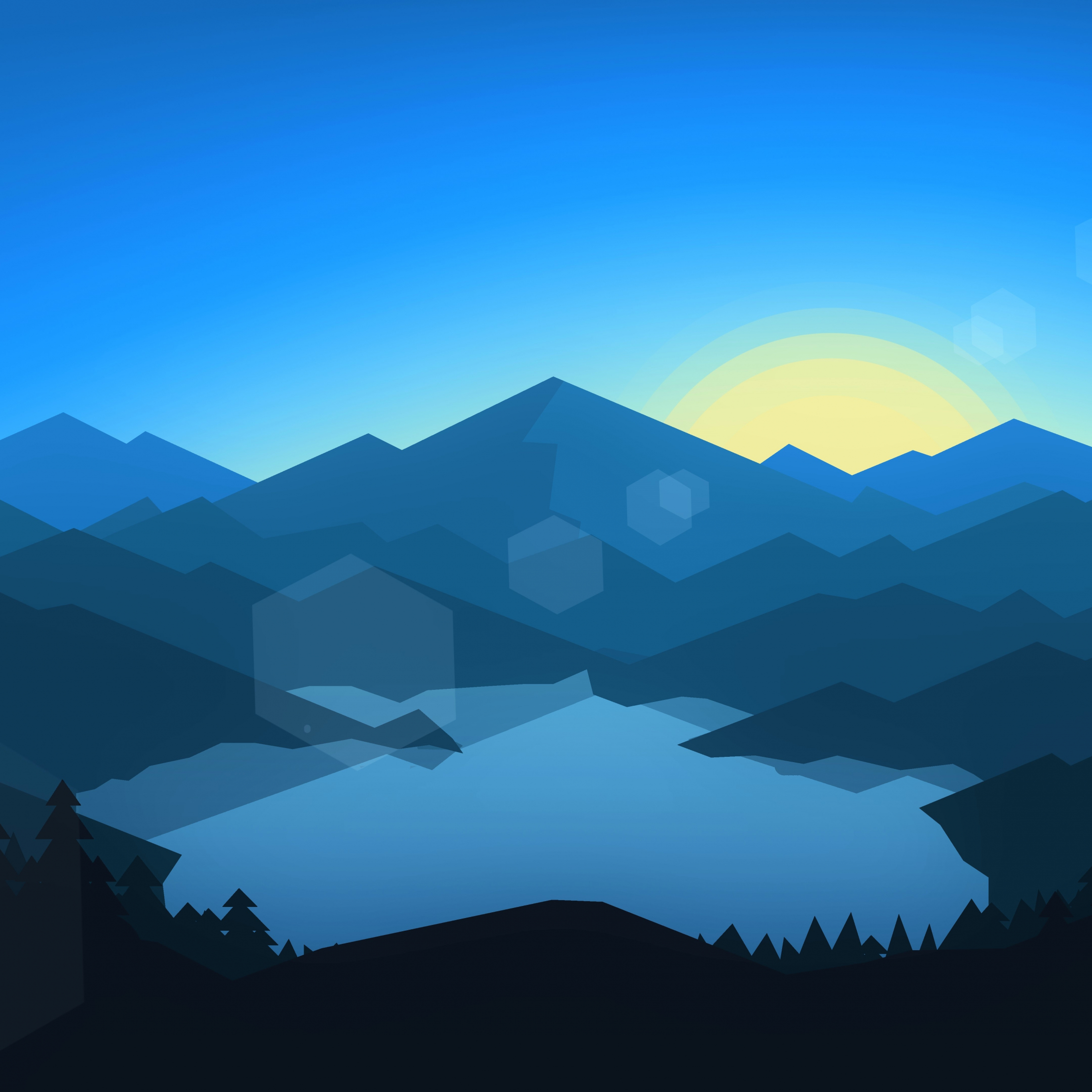 Beautiful Wallpaper Mountain Ipad Mini - forest_mountains_sunset_cool_weather_minimalism  Image_773425.jpg