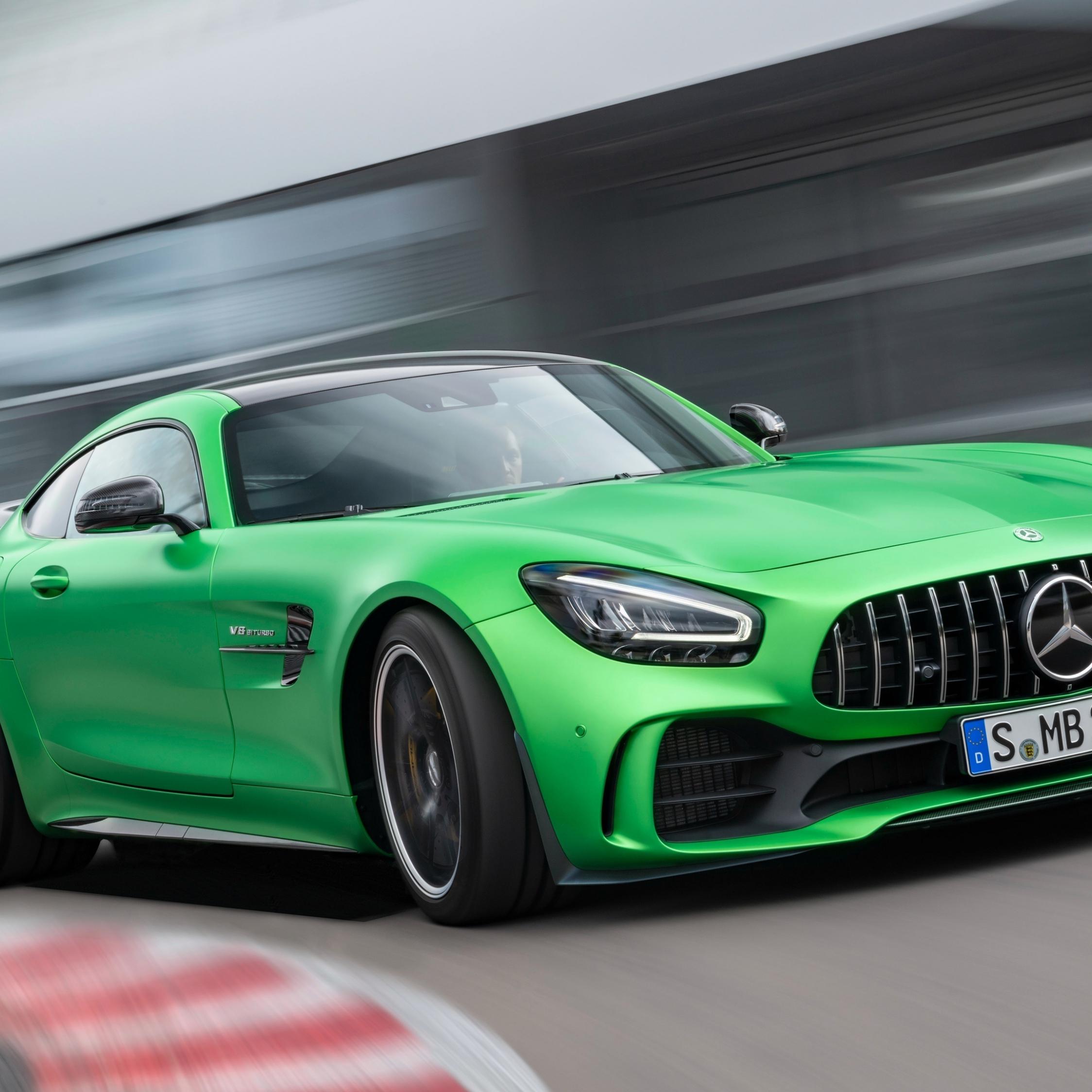 Mercedes-AMG GT, green car, on-road, 2248x2248 wallpaper