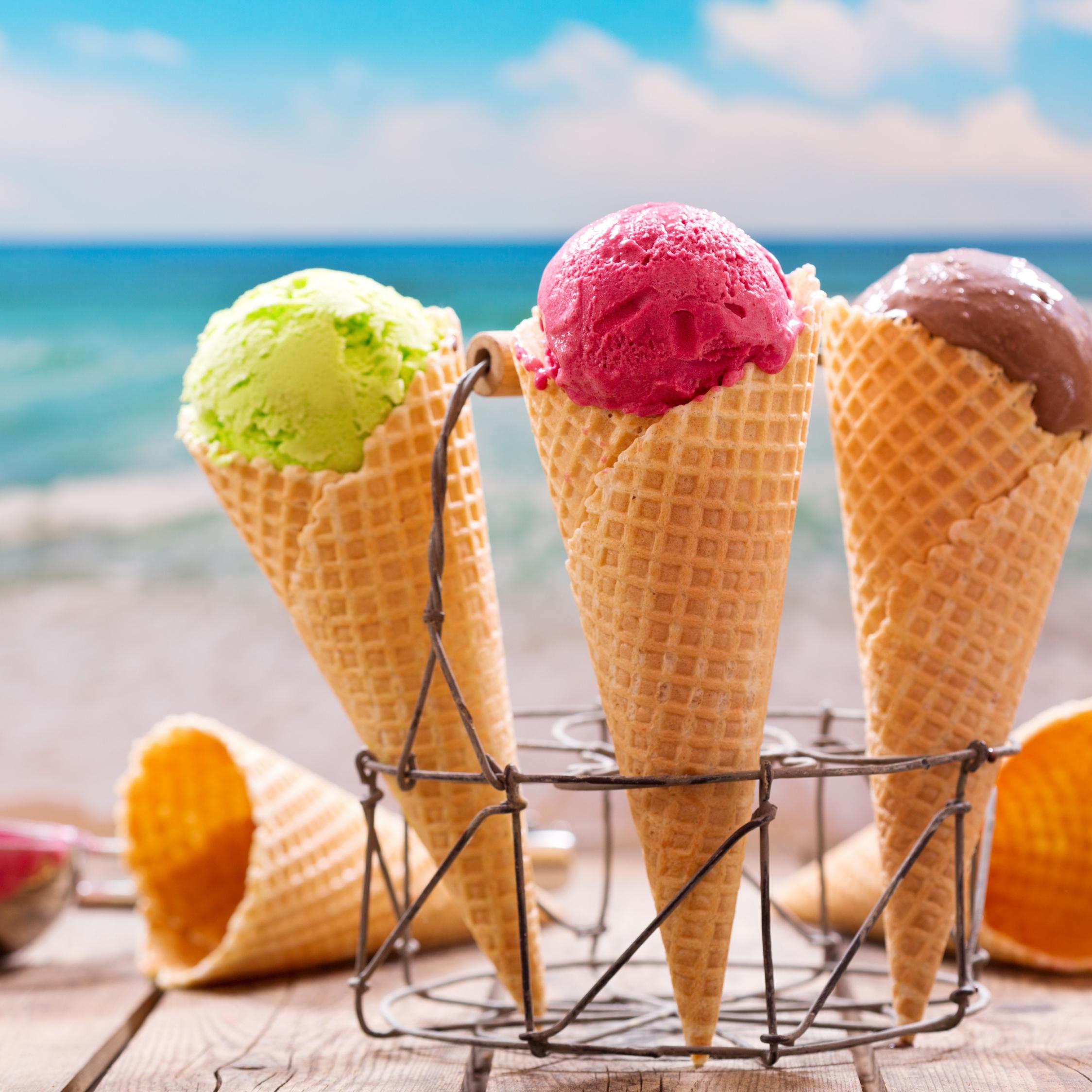 Ice Cream Cone Wallpaper: Download 2248x2248 Wallpaper Ice Cream, Waffle Cones