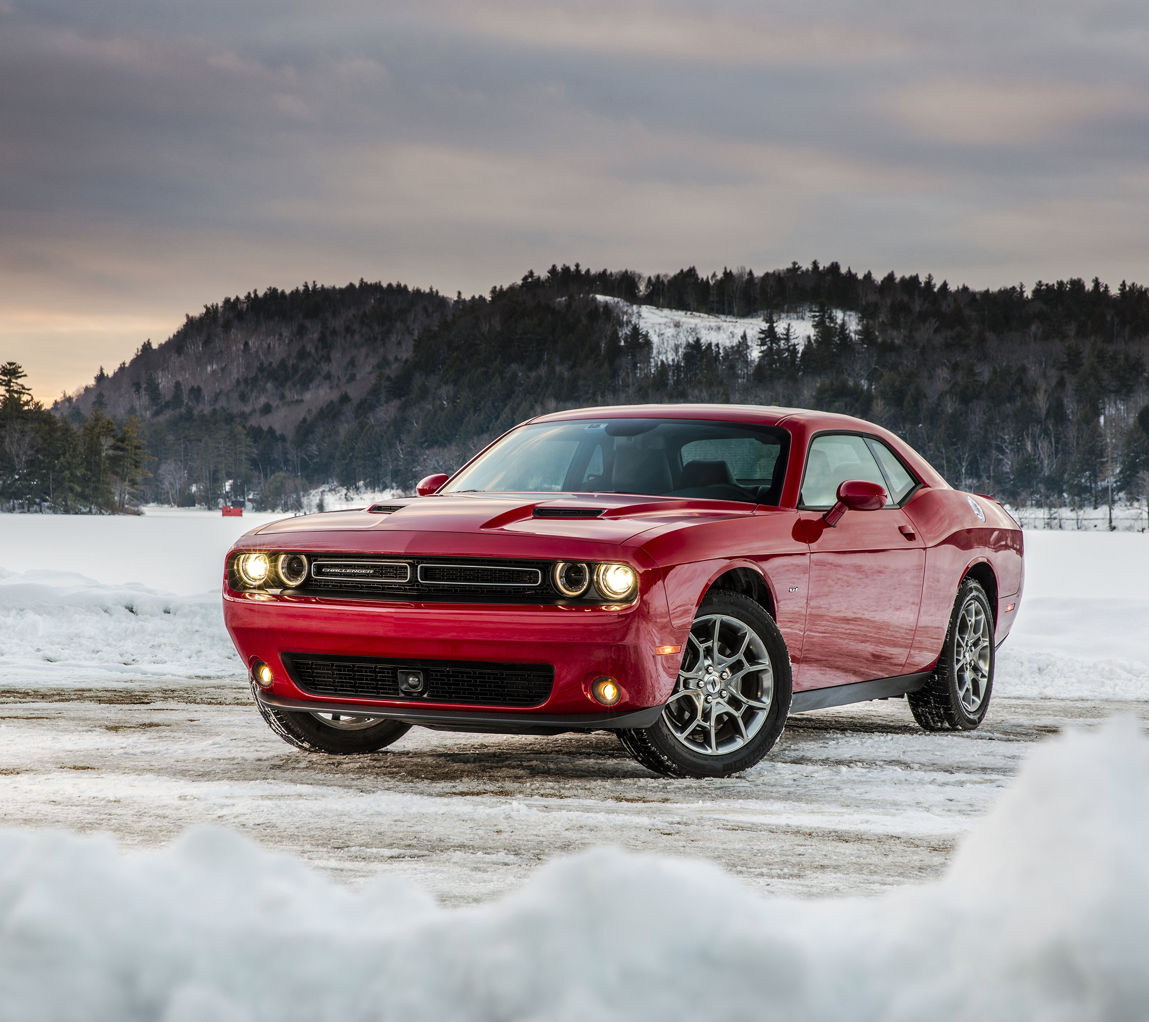 Dodge challenger, red muscle car, 2248x2248 wallpaper