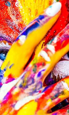Paint on face and hand, colorful, close up, 240x400 wallpaper