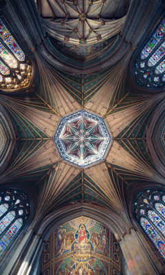 Ceiling, cathedral, symmetrical interior, architecture, 240x400 wallpaper