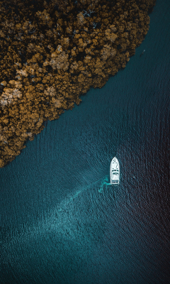 Aerial view, sea, forest, boat, 240x400 wallpaper