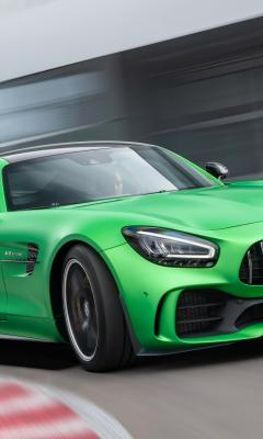 Mercedes-AMG GT, green car, on-road, 240x400 wallpaper