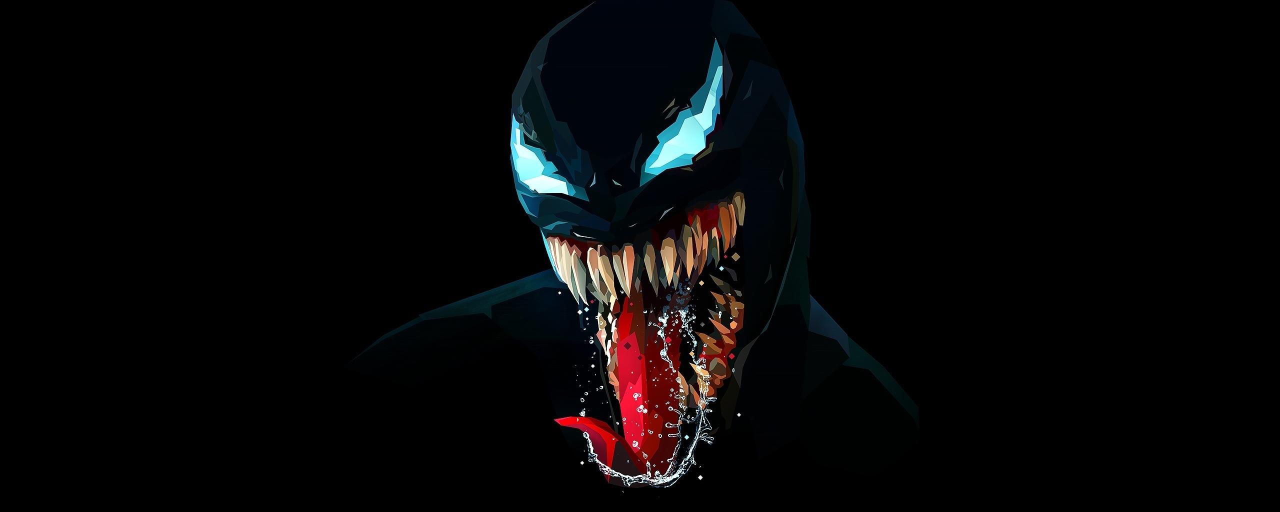 Venom, artwork, minimal, dark, 2560x1024 wallpaper