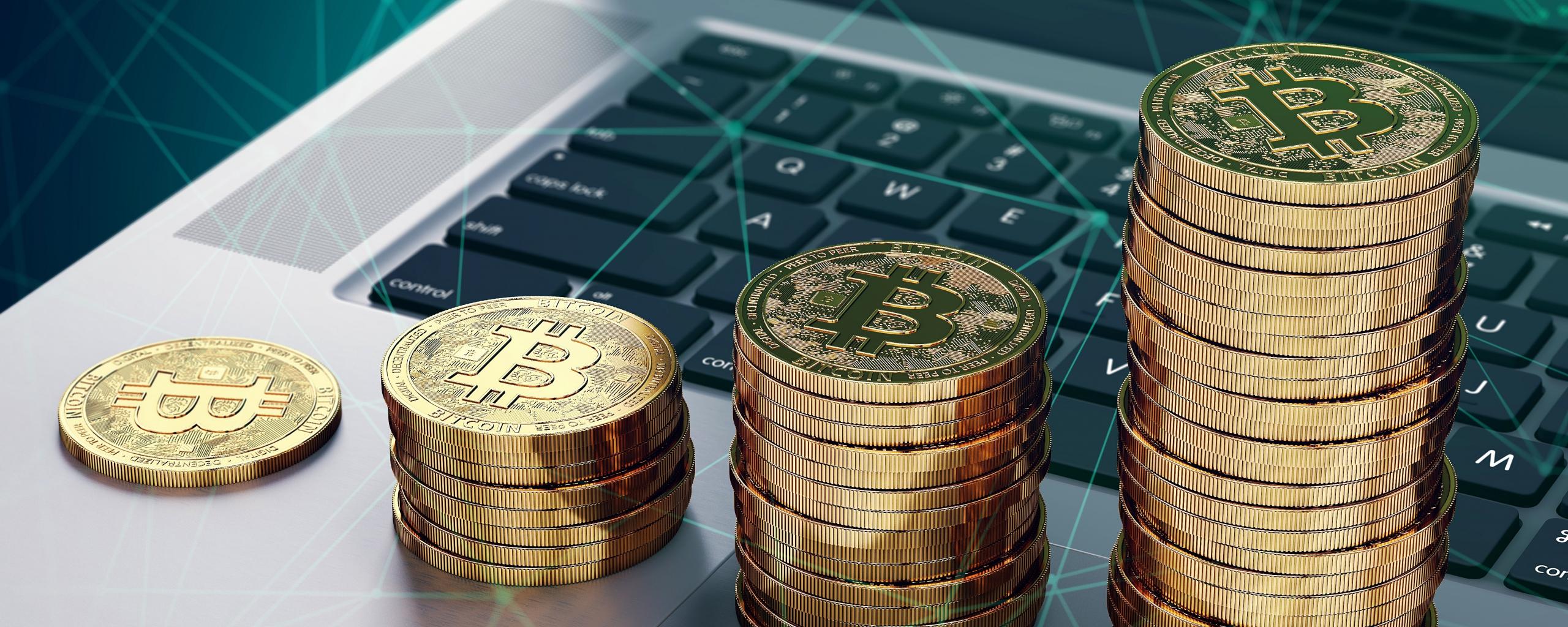 Crypto coins, Bitcoin, tech, 2560x1024 wallpaper