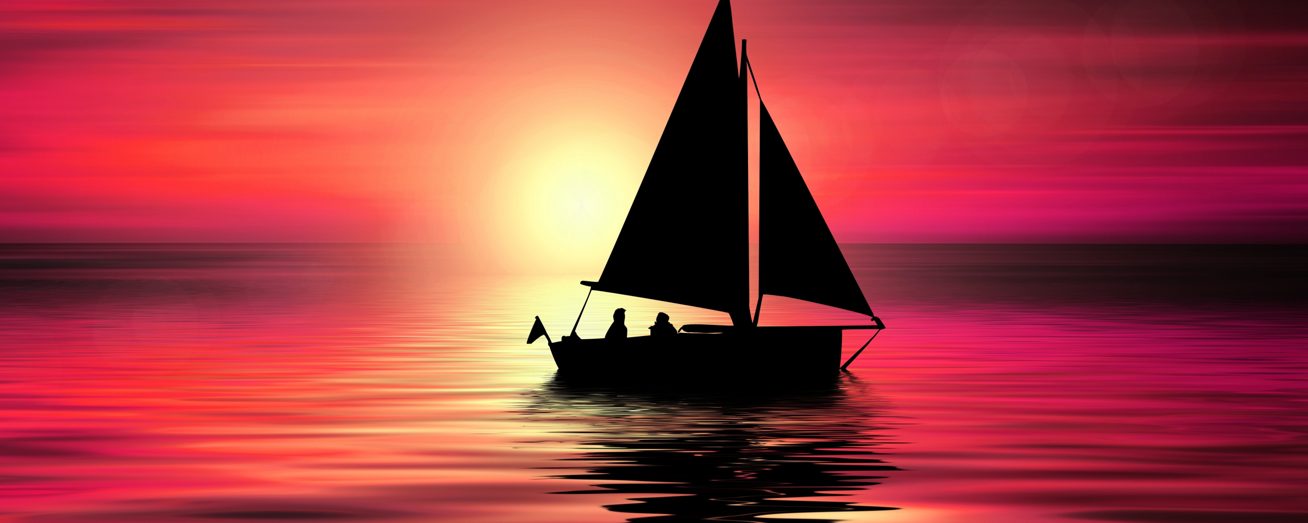 Artwork, sailboat, sunset, silhouette, 2560x1024 wallpaper