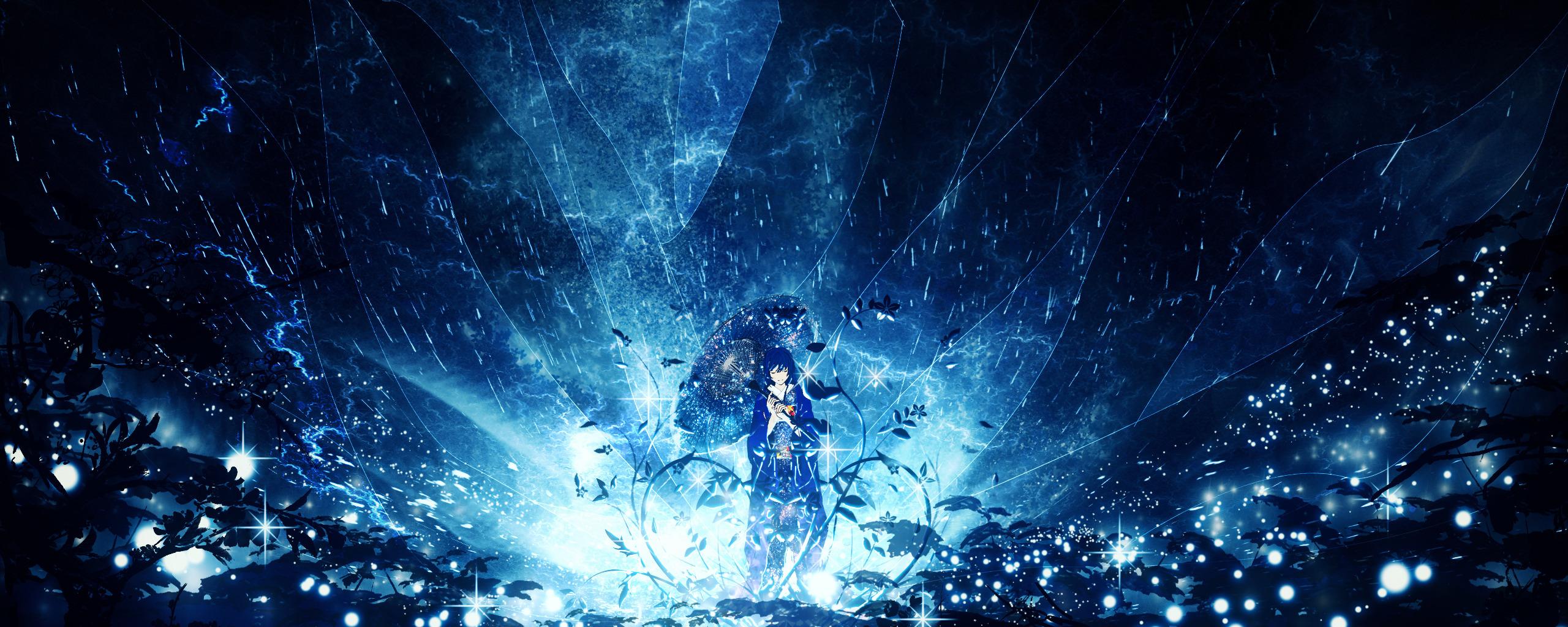 anime girl, outdoor, night, original, 2560x1024 wallpaper