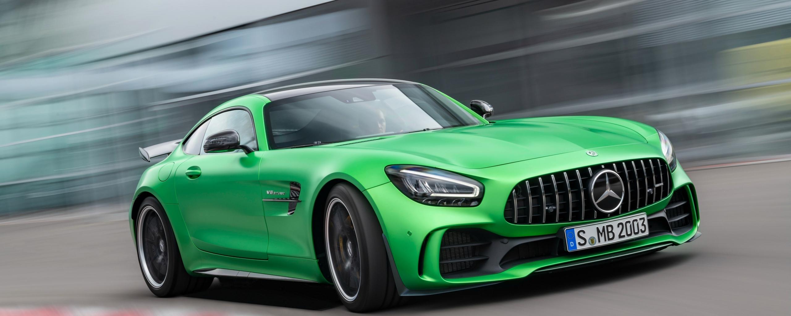 Mercedes-AMG GT, green car, on-road, 2560x1024 wallpaper