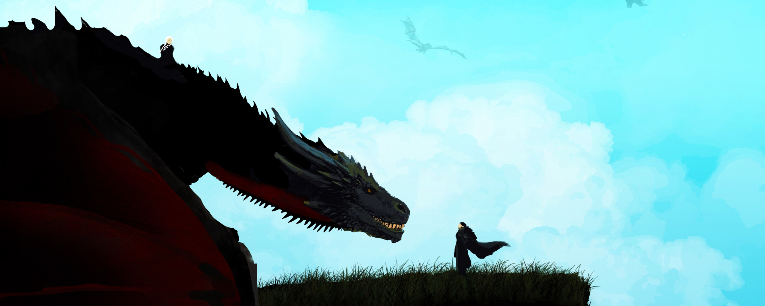 Download 2560x1024 Wallpaper Jon Snow And Dragon Game Of Thrones