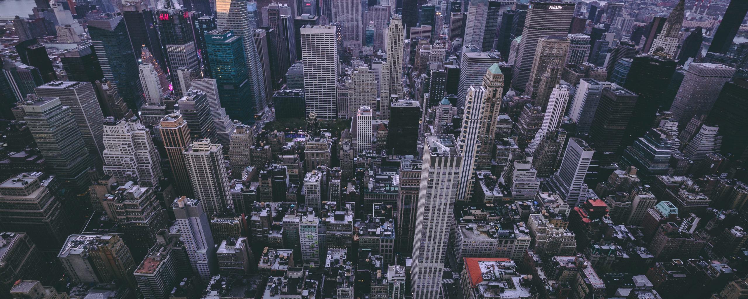 New york city buildings aerial view 5k