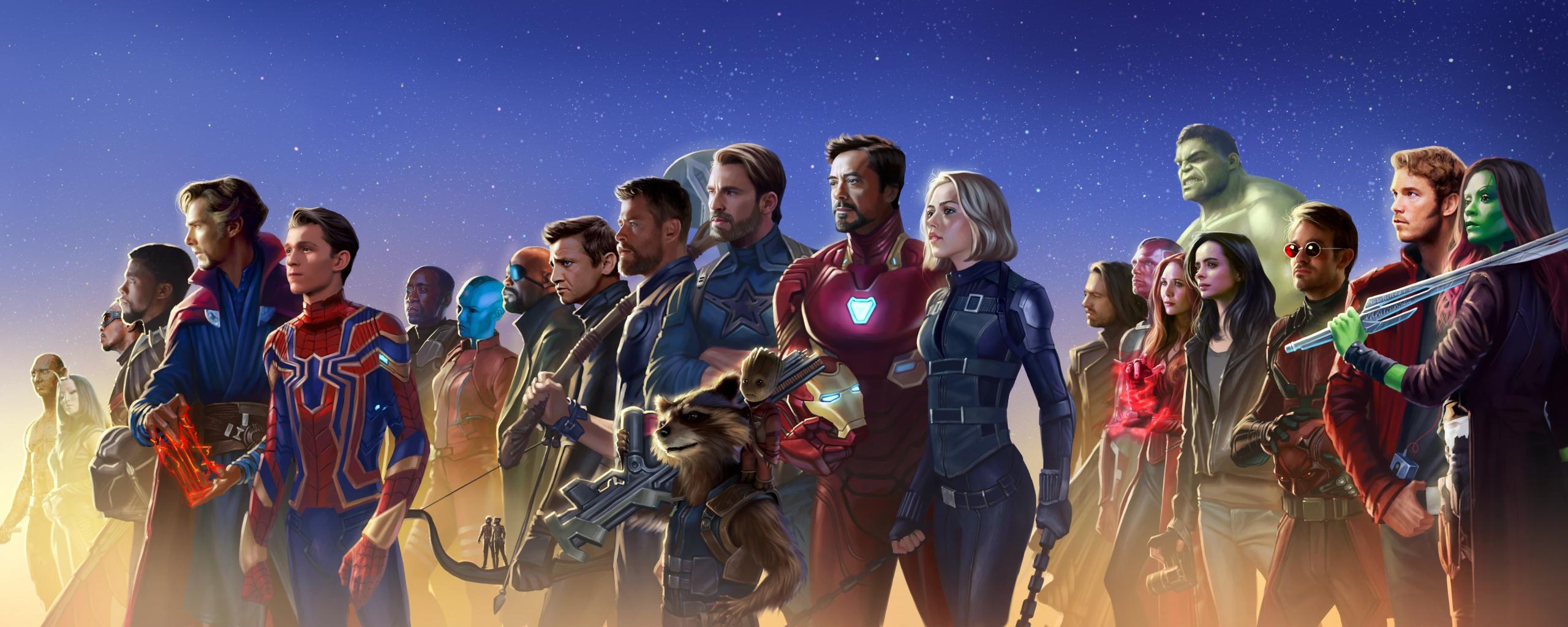 Download 2560x1024 Wallpaper Superheros Marvel Artwork